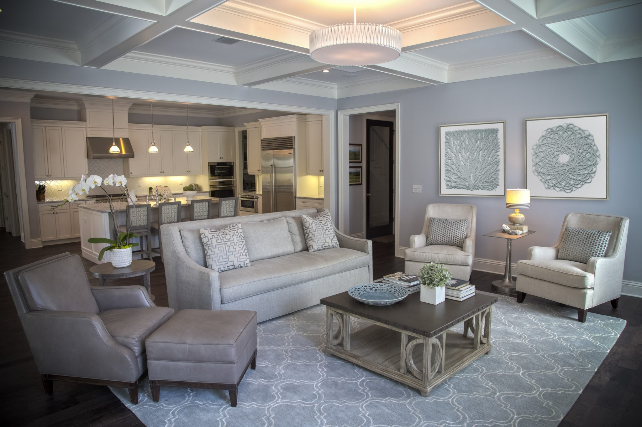 Parkland residence featuring coffered ceiling detail by Kari Wilbanks Interior Design
