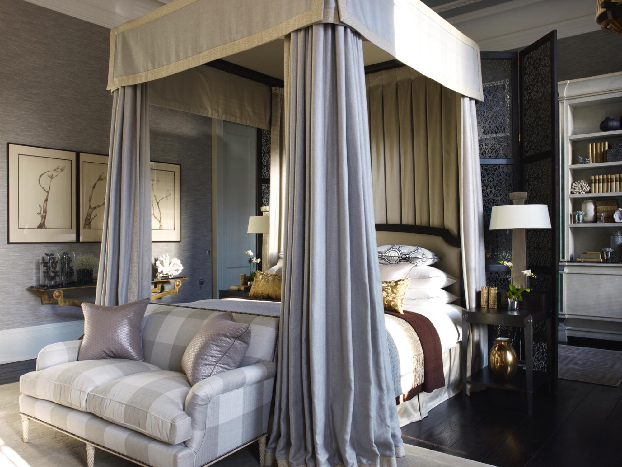 Regents Park bedroom with canopy bed by Hubert Zandberg Interiors