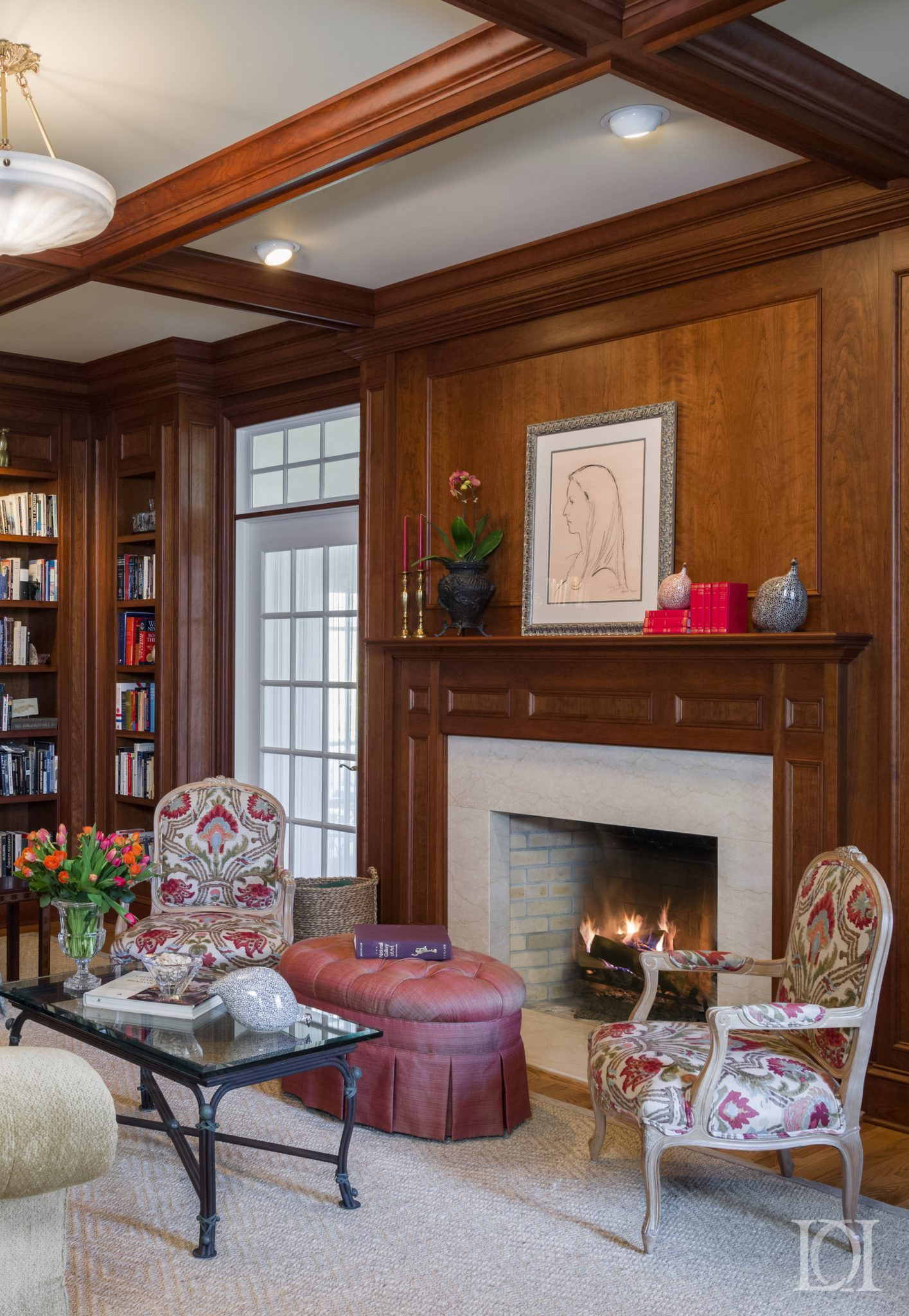 Living room re imagined into a full panel library with coffer ceiling and panels by Deborah Leamann Interior Design