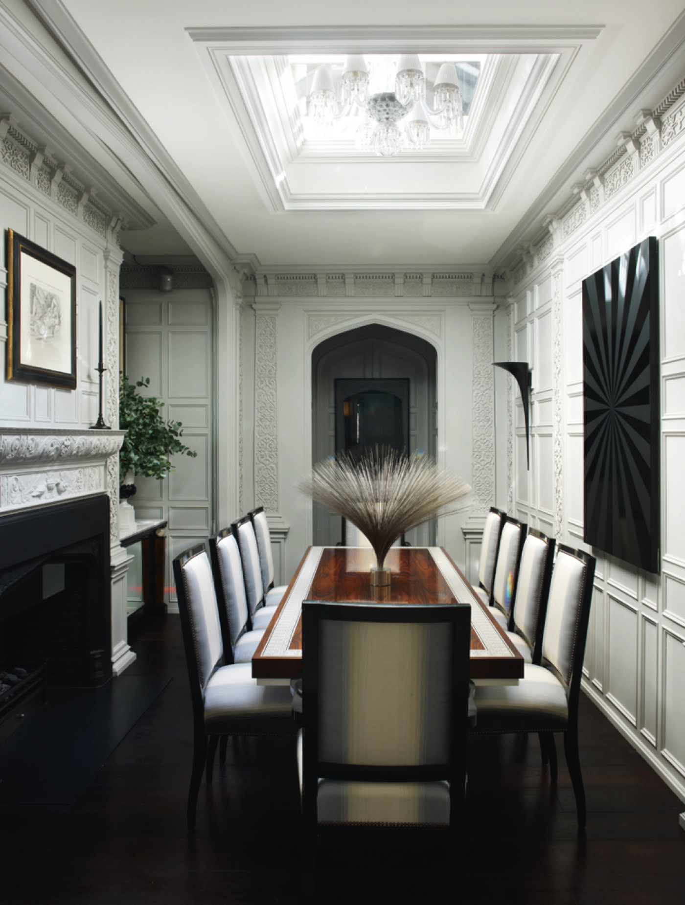 Elegant Regents Park dining room with elaborate molding by Hubert Zandberg Interiors