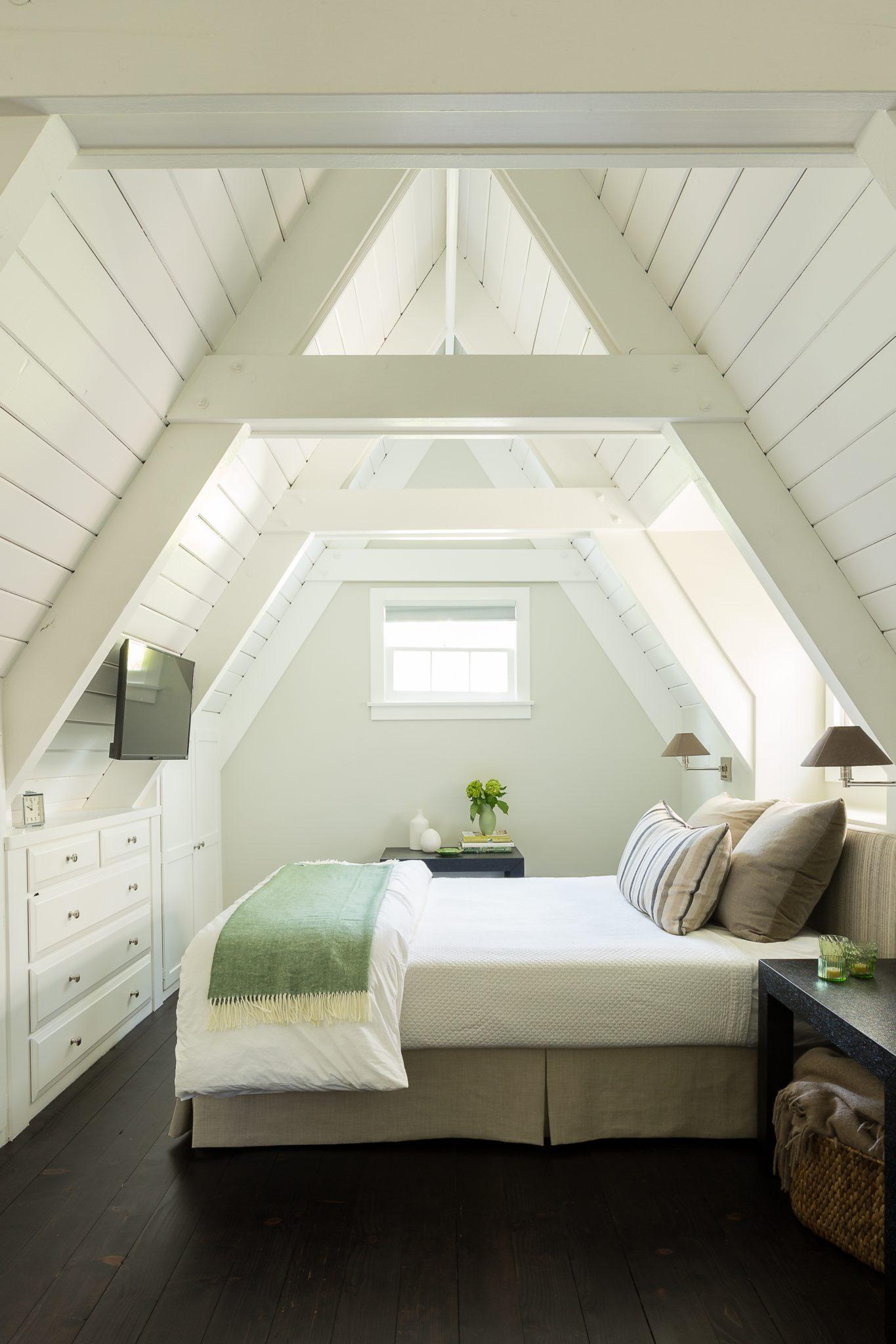 A-Frame Bedroom in Guest Cottage by Gilmore Design Studio
