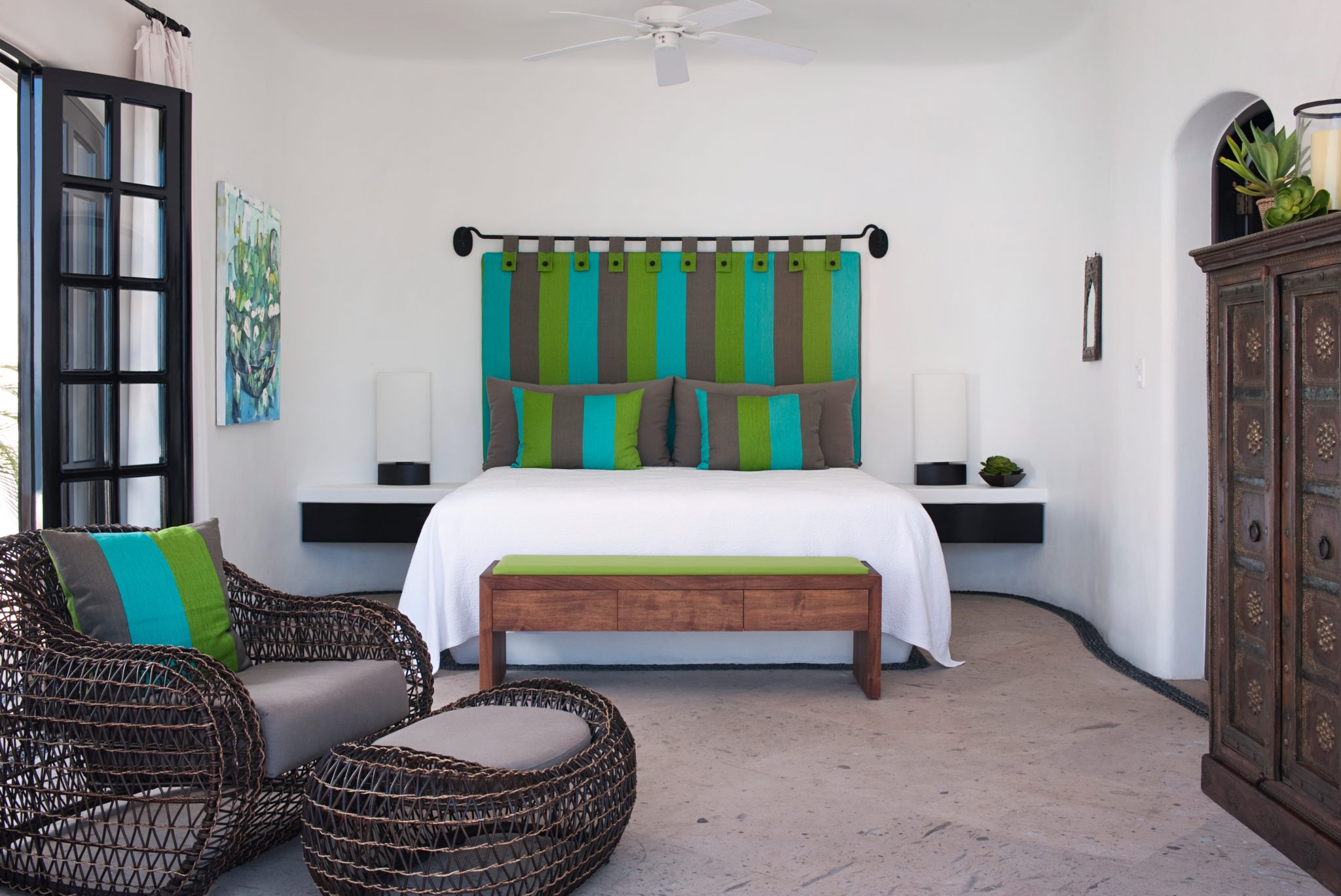 Guest Bedroom in a Mexico Compound by Woody Argall Design