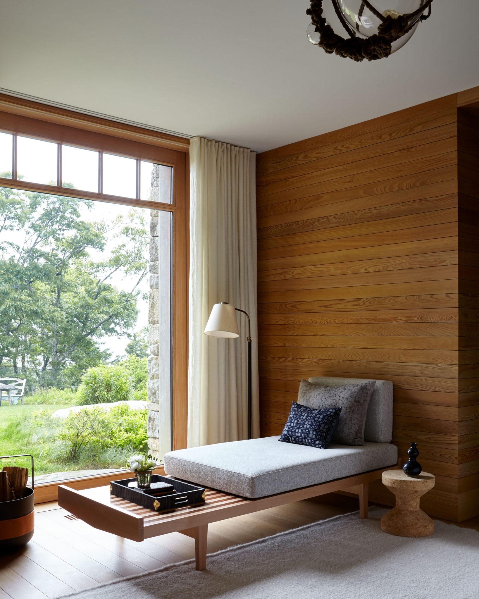Scandinavian Style Mid Century Wood Paneled New England House Guest Bedroom by Terri Ricci Interiors