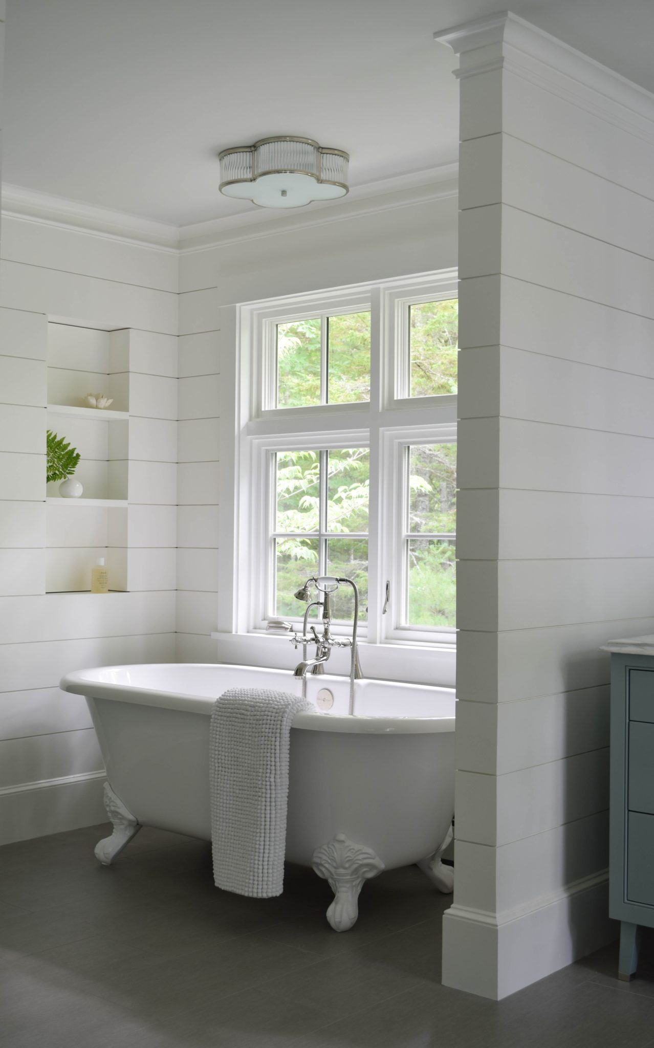 Master Bath with Shiplap Wall Niche by Walsh Hill Design