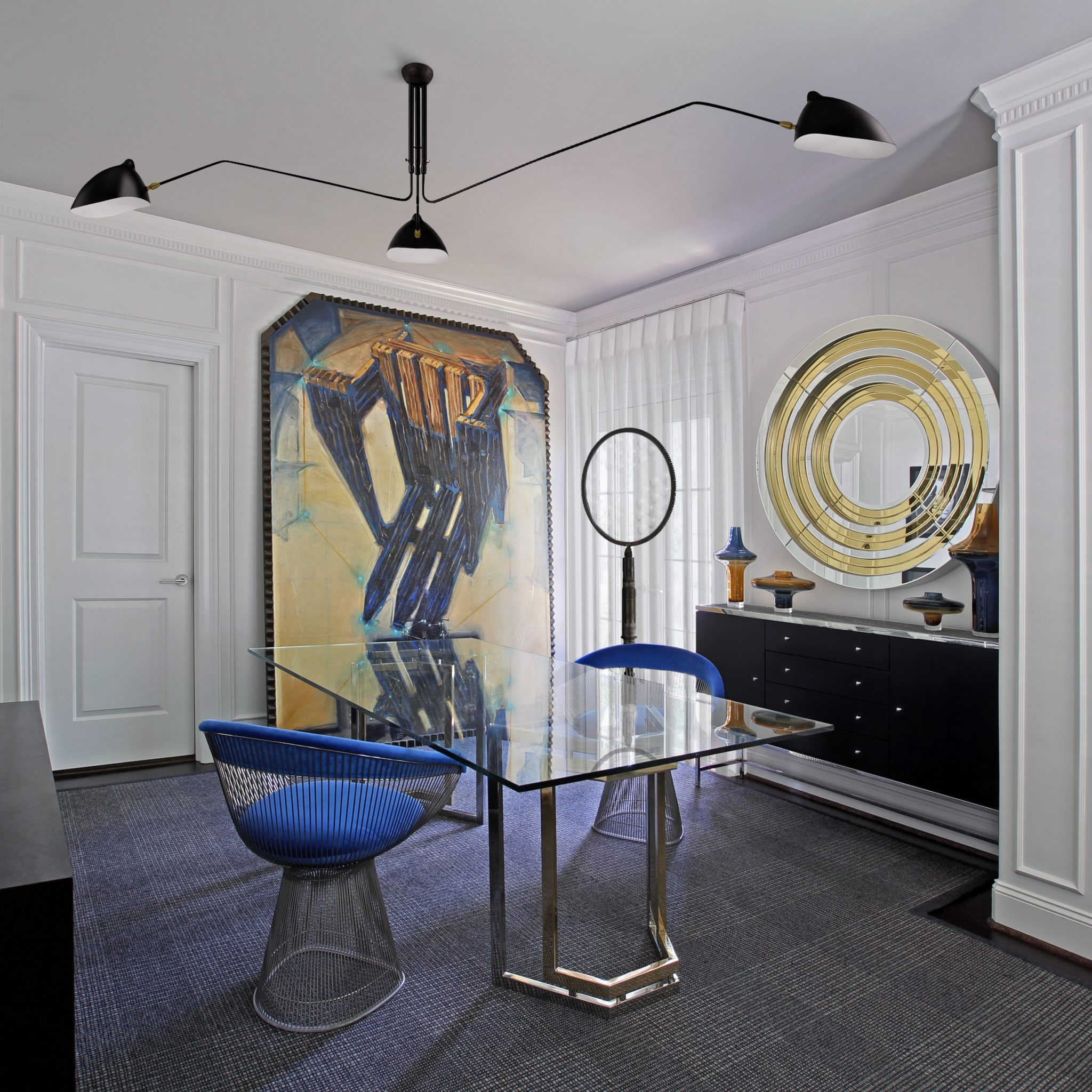 Oversize art and vintage mix of furniture and art in this home office by Benjamin Johnston Design