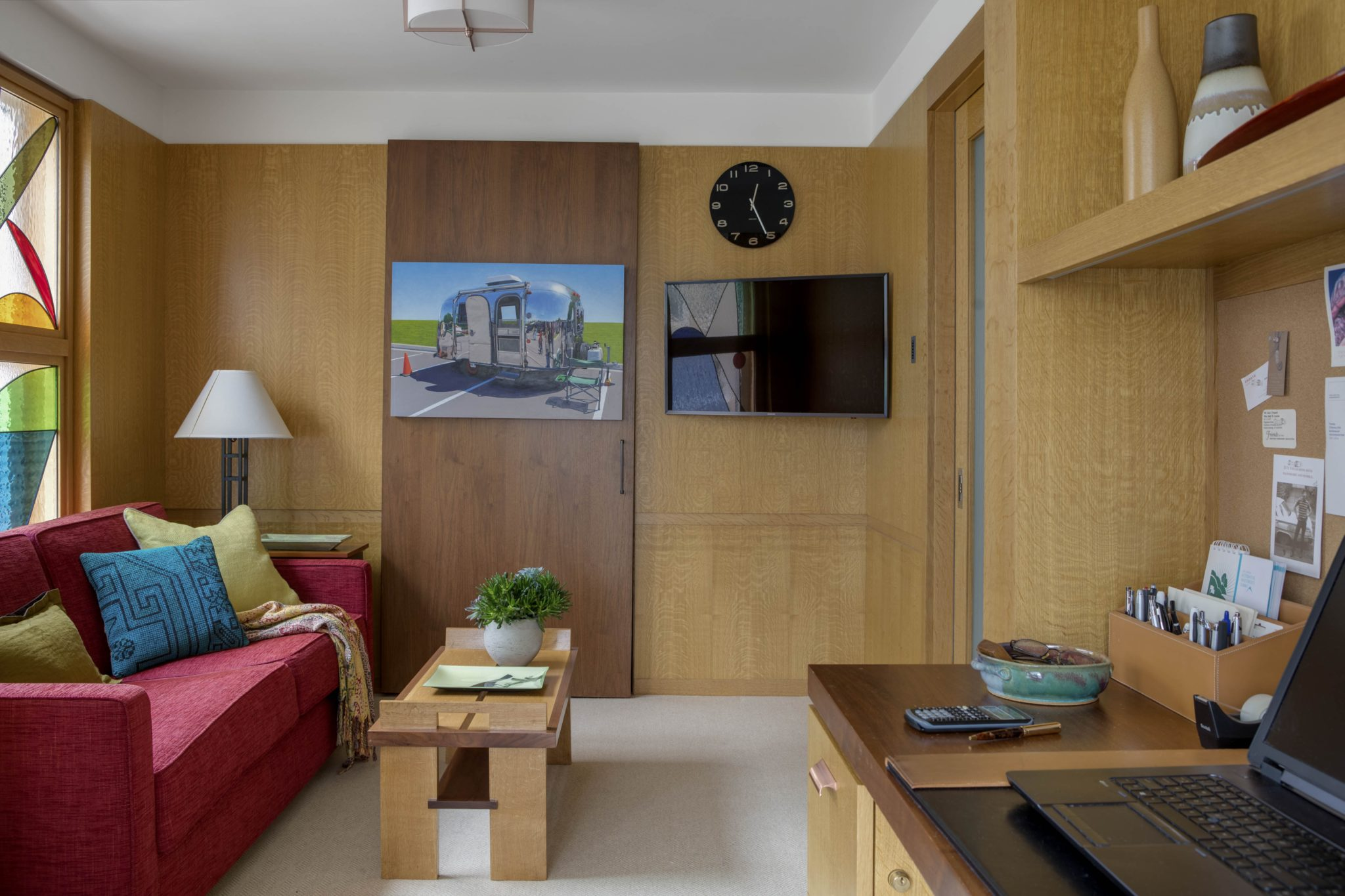 Oak Paneled Home Office by Huth Architects