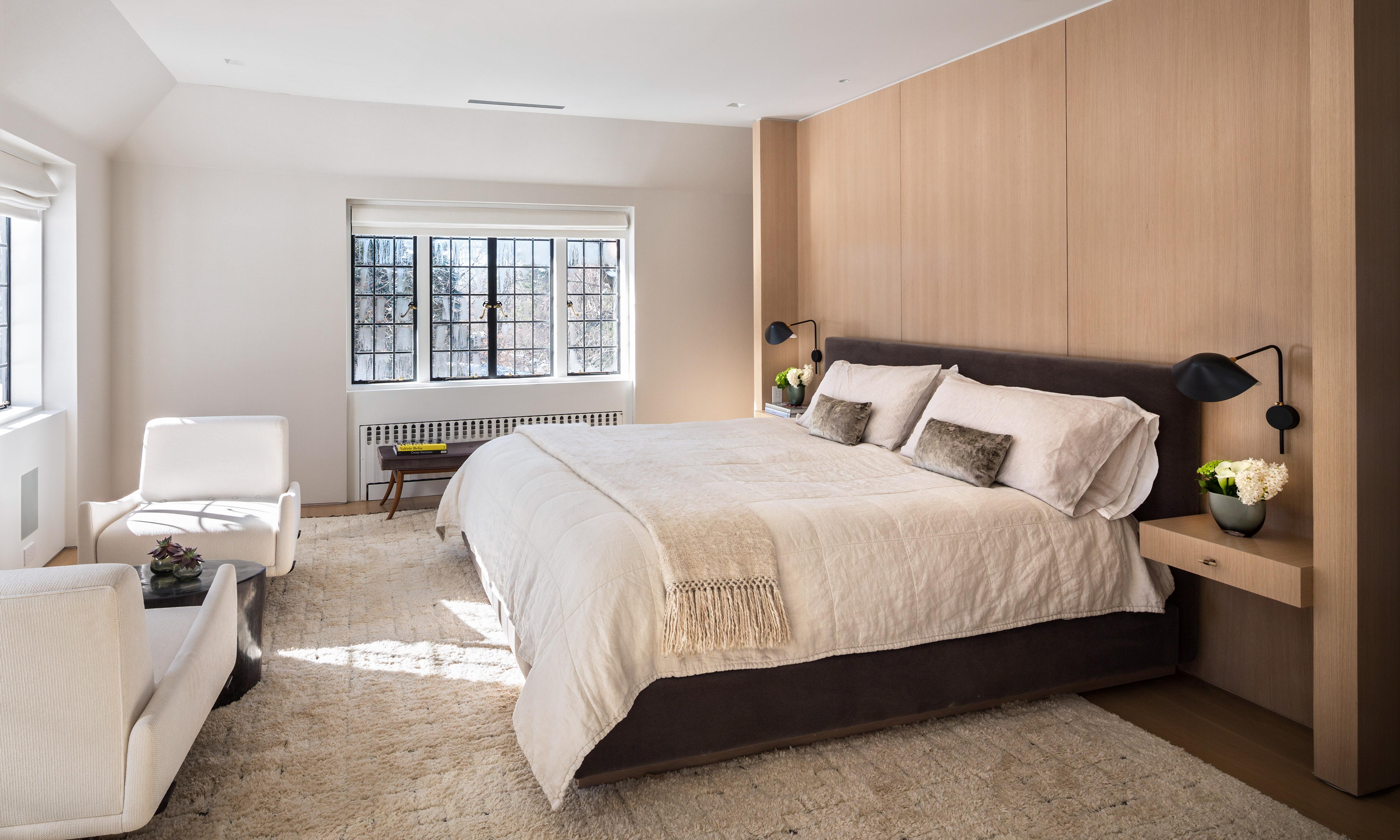 38PR: Minimalist Master Bedroom with Wood Panel by Joeb Moore & Partners
