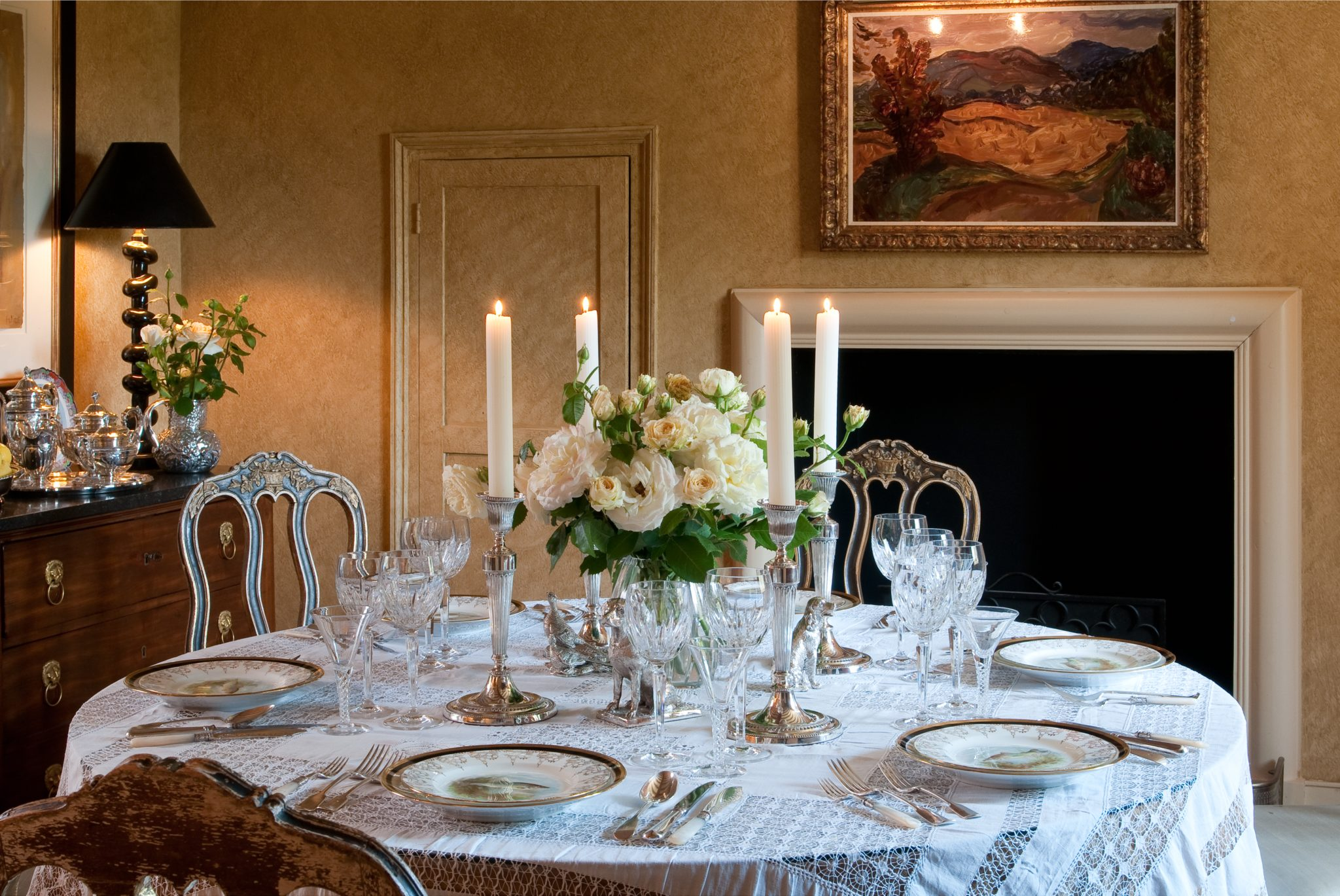 Farmhouse in Oxfordshire, England- Dining Room Detail by Rena Barclay Interiors