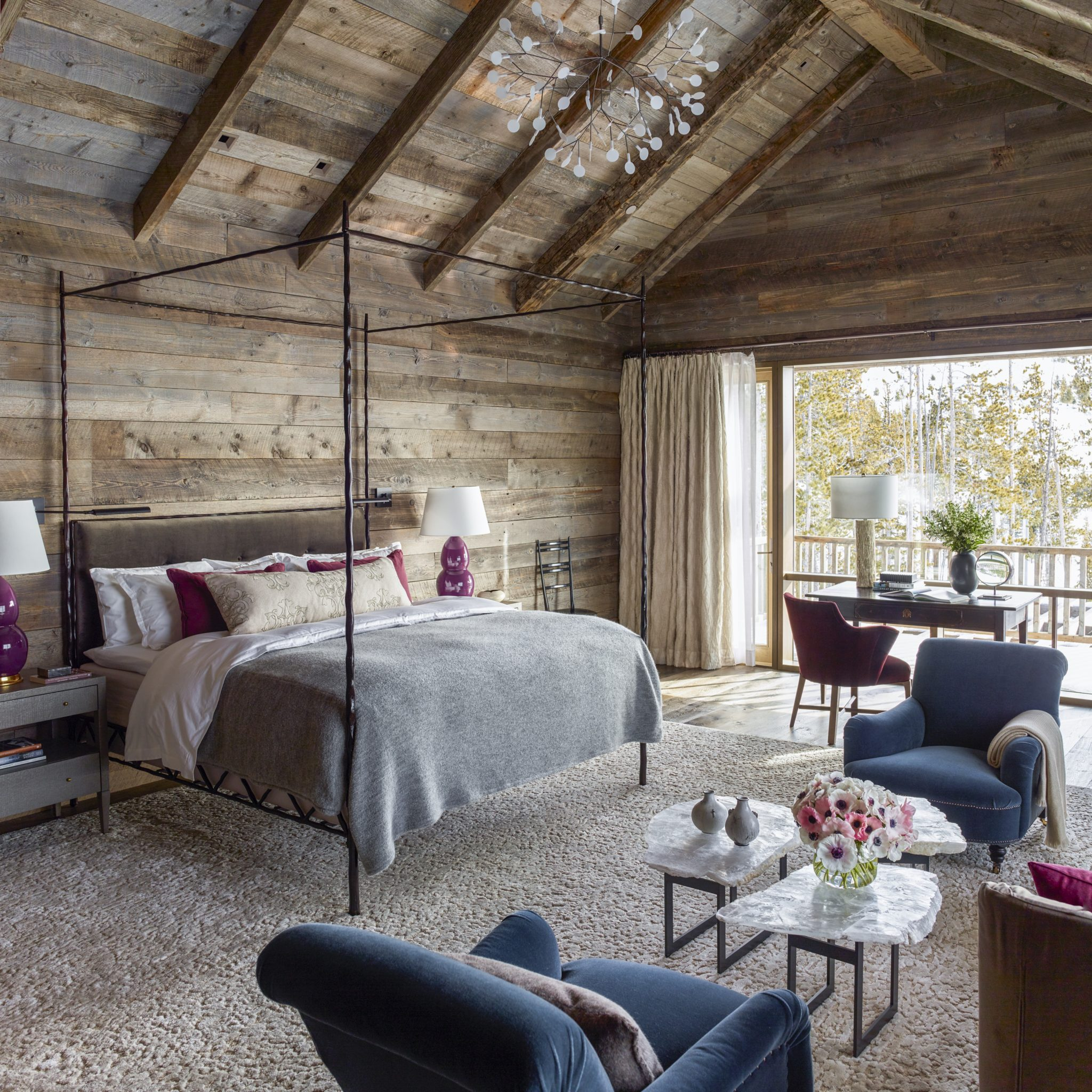 Ski Chalet Interior Design relaxing bedrooms with wood paneling - chairish blog