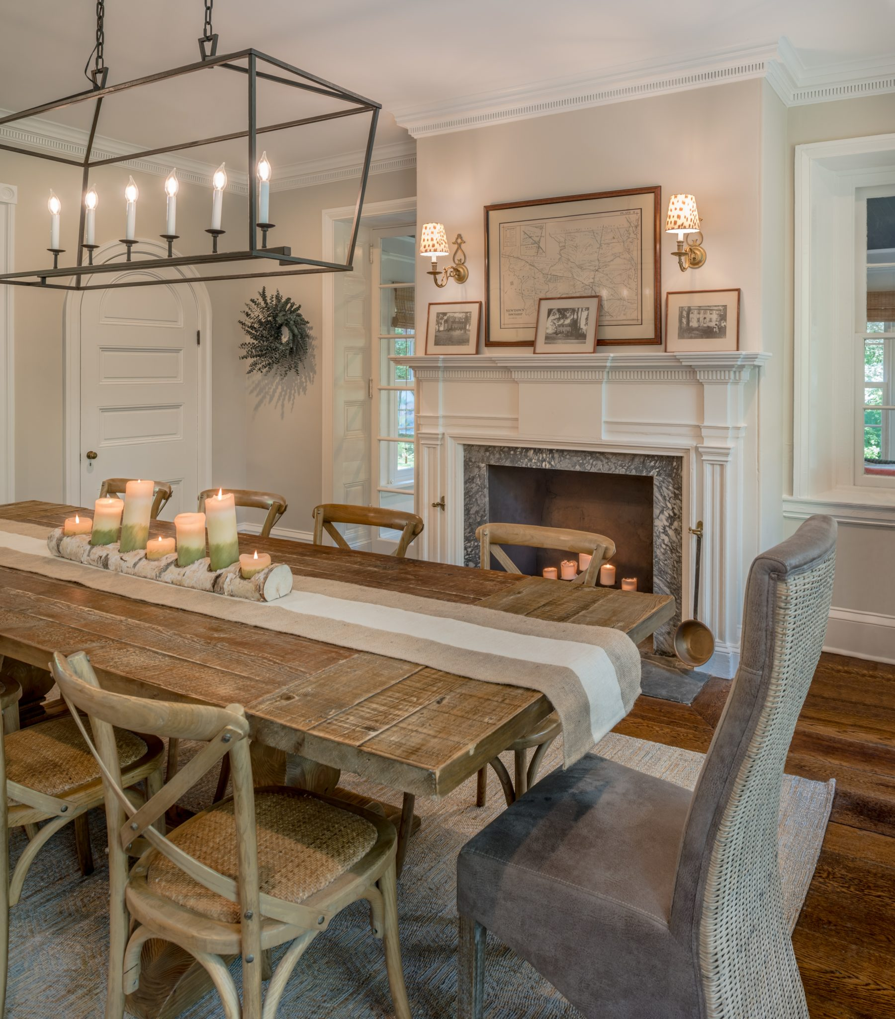 Renovated dining room of a 19th century Pennsylvania Farmhouse by Period Architecture