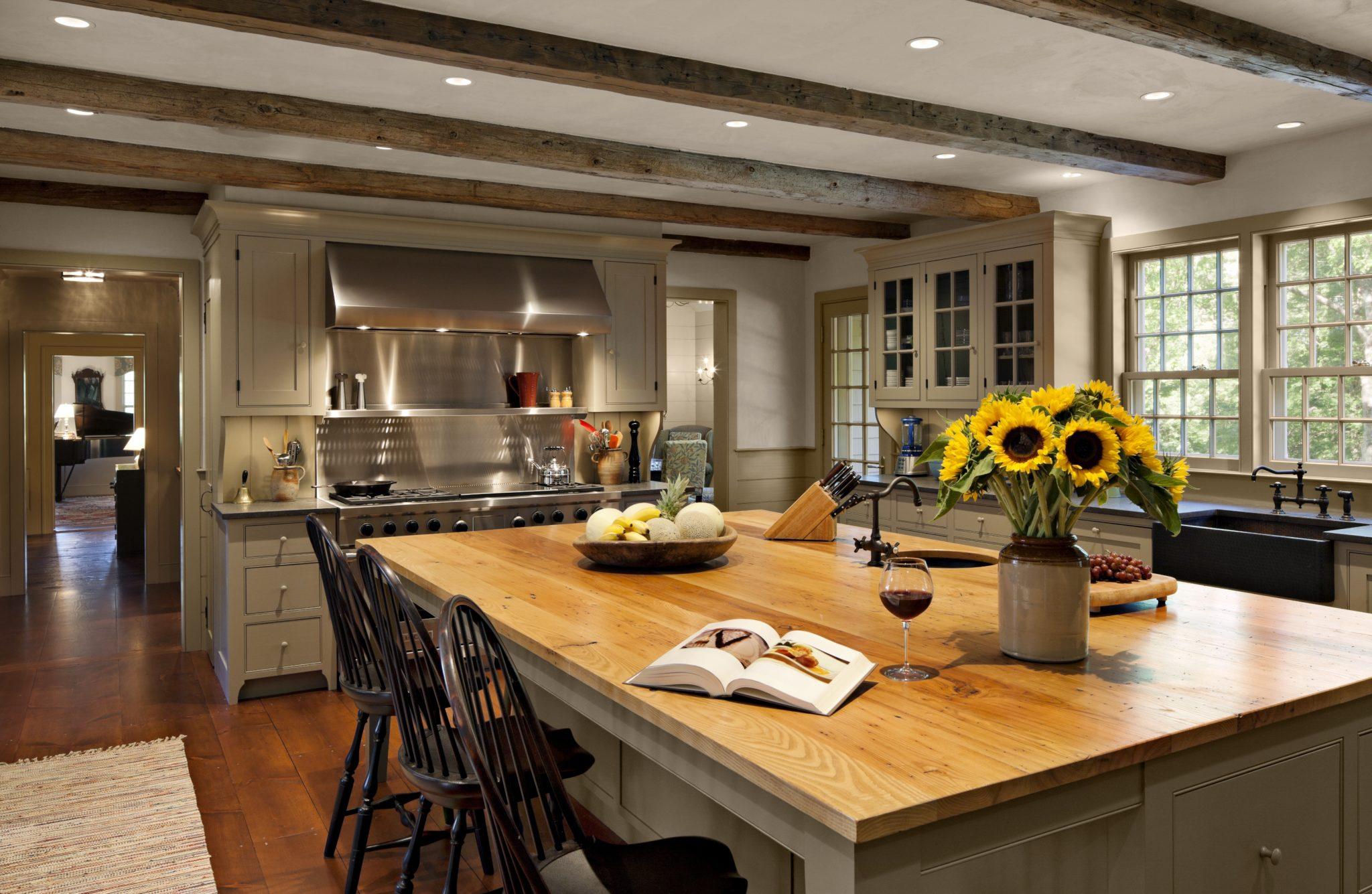 Country kitchen with chestnut island by Haver & Skolnick Architects