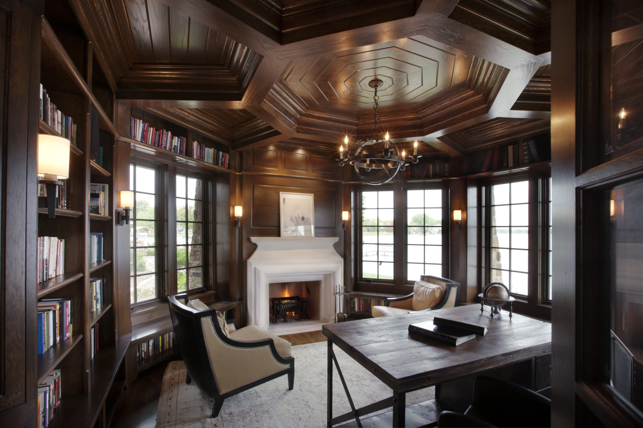 Octagonal coffered ceiling in Tudor-style office - Lake Minnetonka. By Murphy & Co. Design