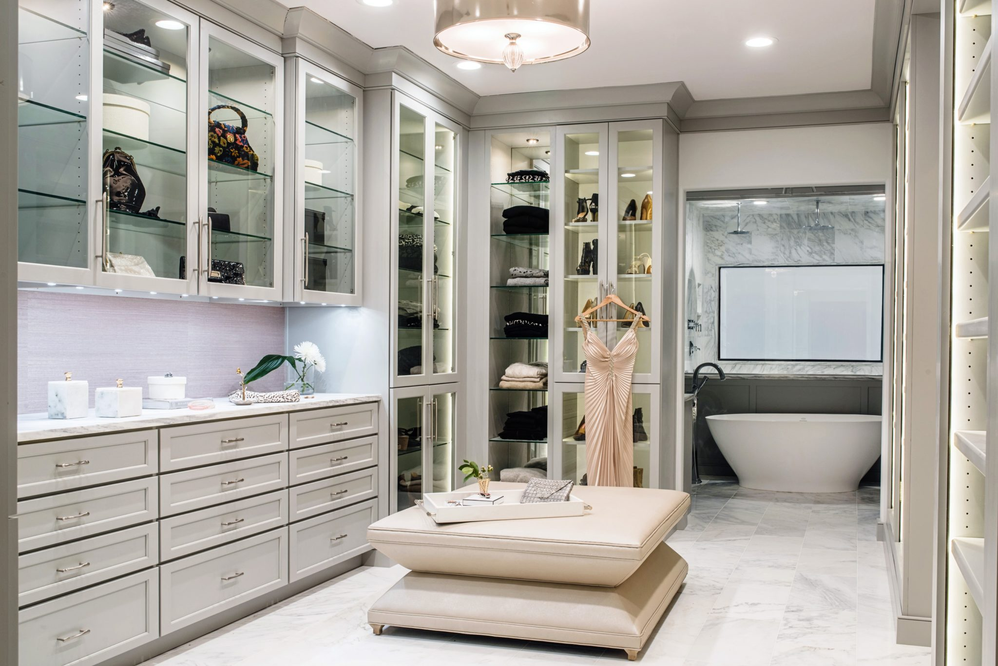 Glamourous Custom Walk In Closet by Michele Plachter Design