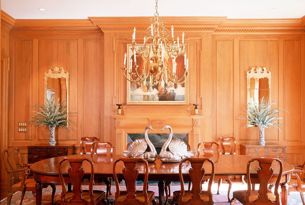 Federal paneled sinker cypress Dining Room. by Ken Tate Architect