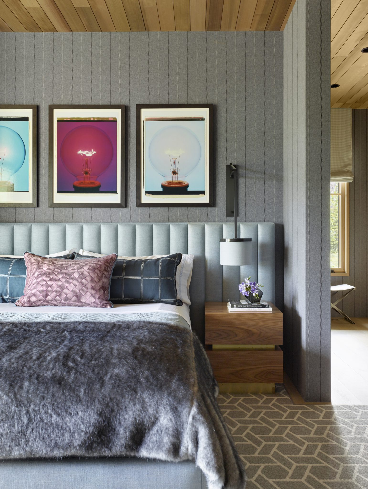 Tahoe Marvel, Guest Bedroom with custom built-in headboard and hanging sconces. by Kelly Hohla Interiors