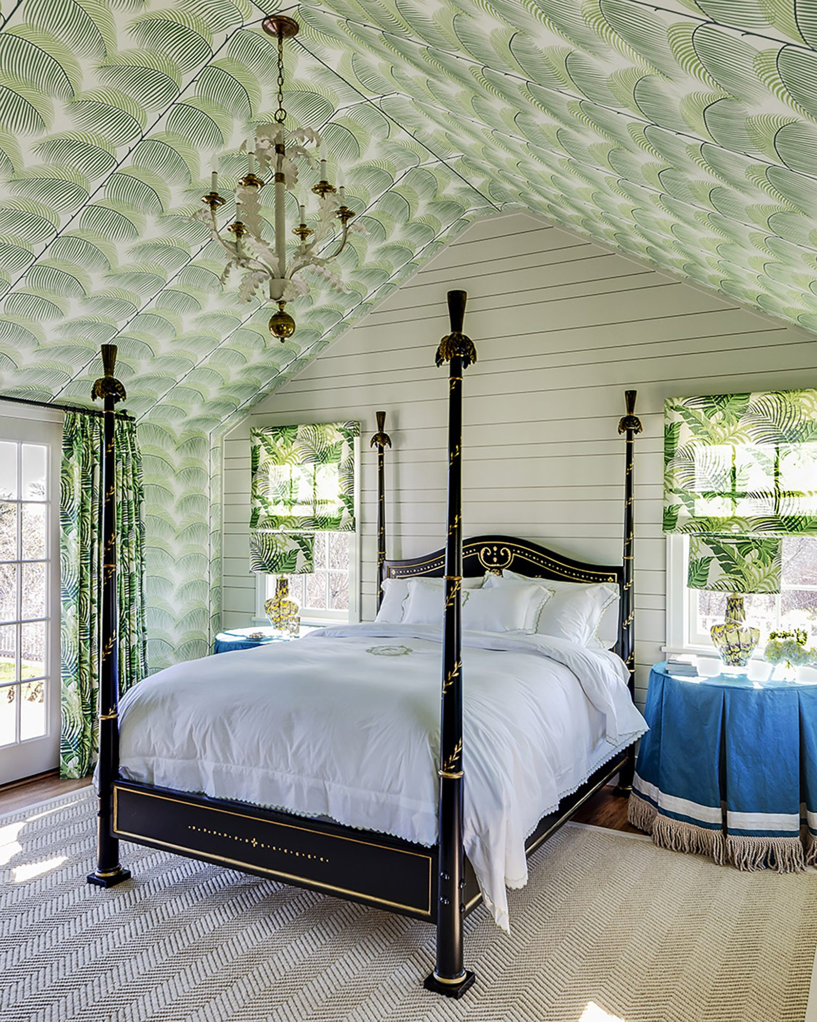 Nantucket Beach House Guest Bedroom by Marks & Frantz / Sanderson for Zoffany Manila Palm Wallpaper by Marks & Frantz