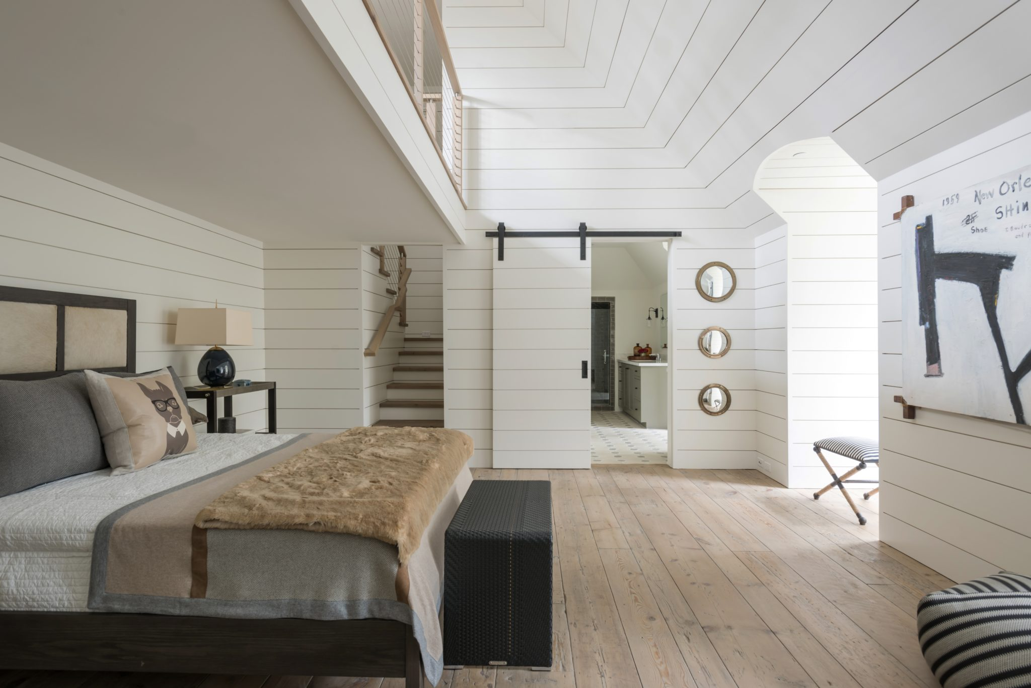 Playful teen bedroom with neutral furnishings & shiplap; Houston, TX by Bankston May Associates