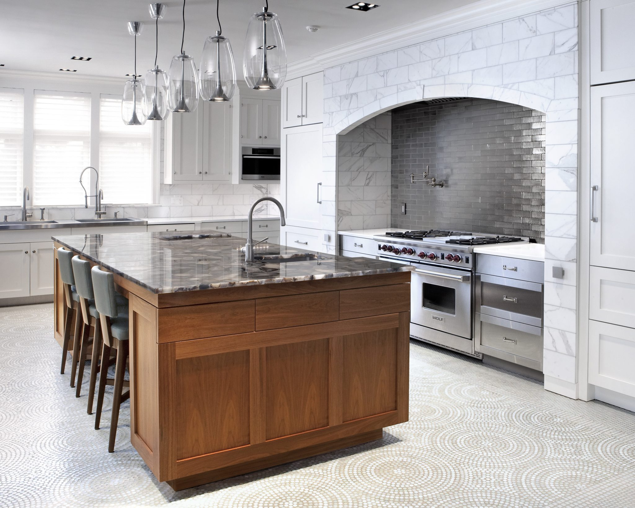 Kitchen with mosaic floor by St. Charles of New York