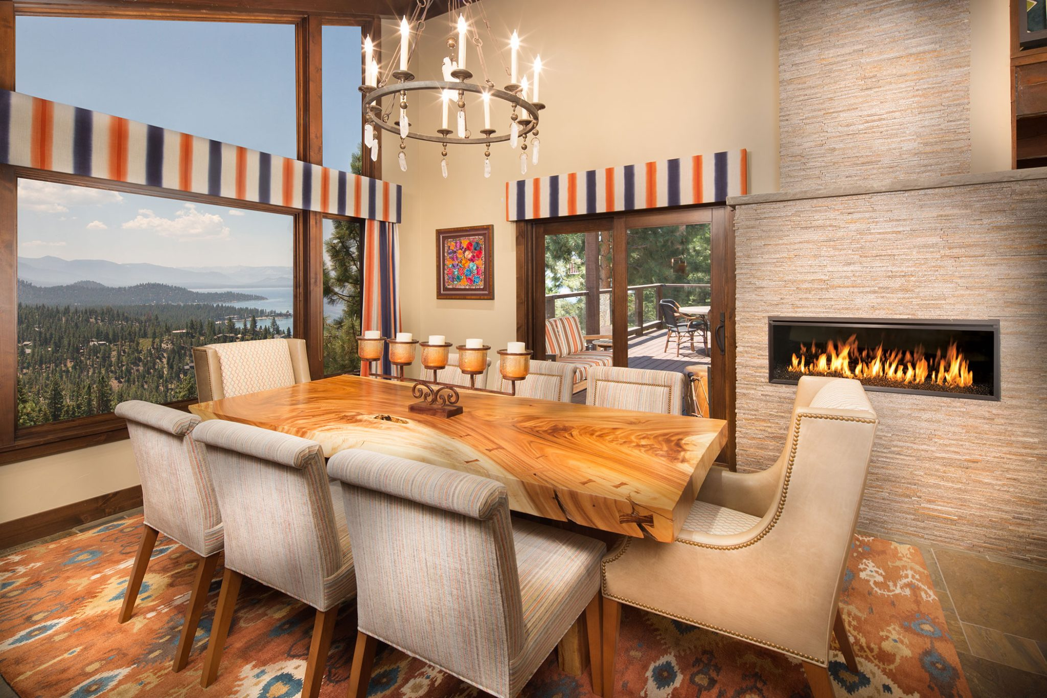 Eclectic Lift, Zephyr Cove, NV, Lake Tahoe, dining room by Aspen Leaf Interiors, Inc.