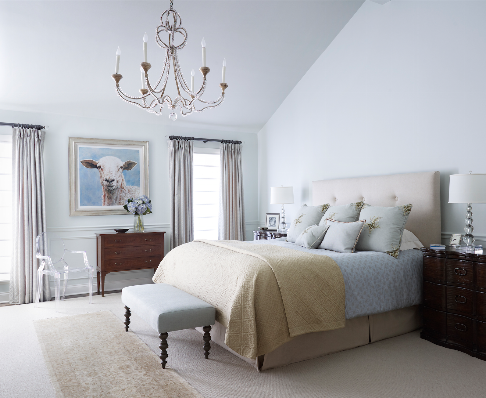 City townhome master bedroom by Kim Scodro Interiors