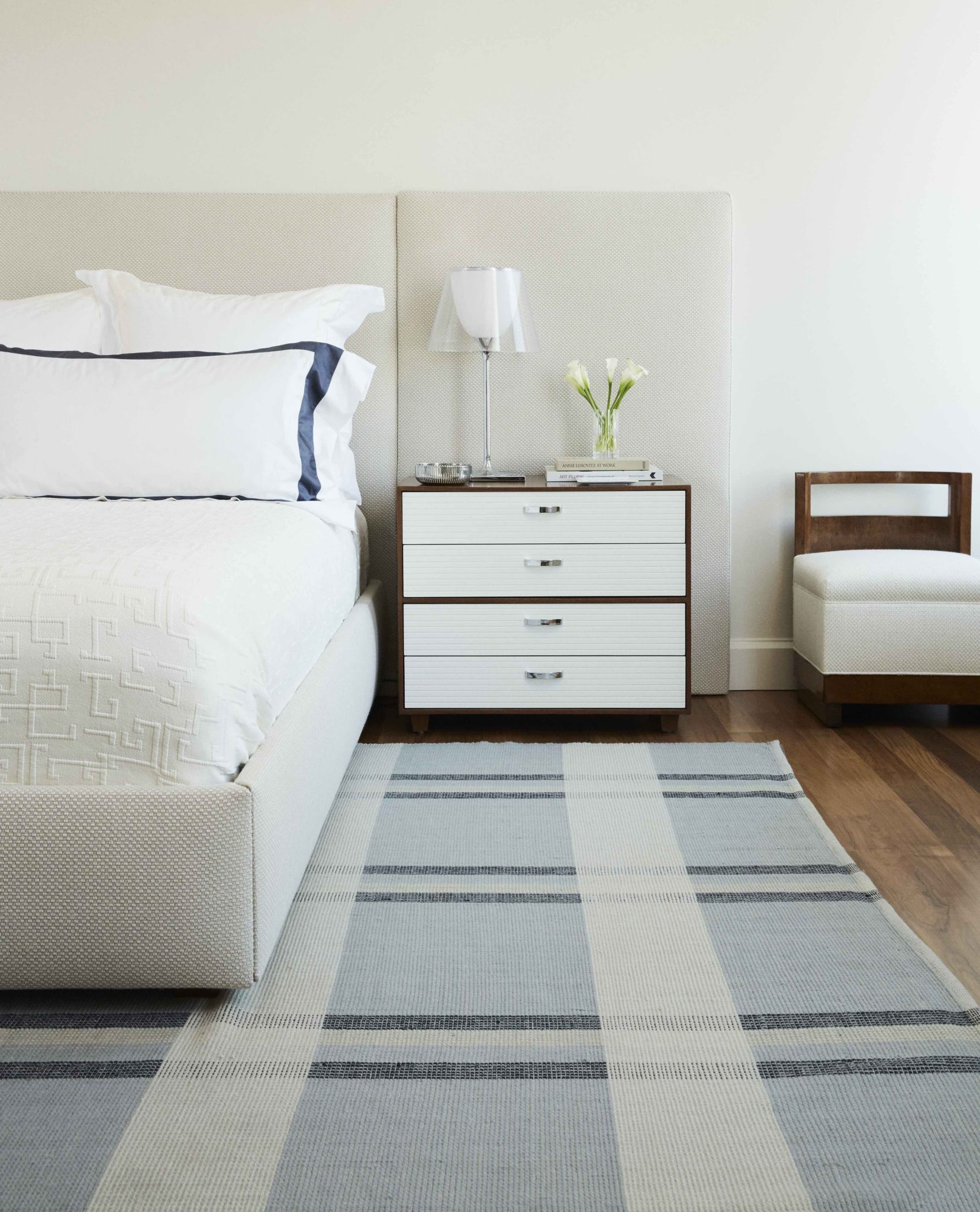 West Los Angeles Residence, Elongated Headboard and Plaid Area Rug by Sherwood Kypreos