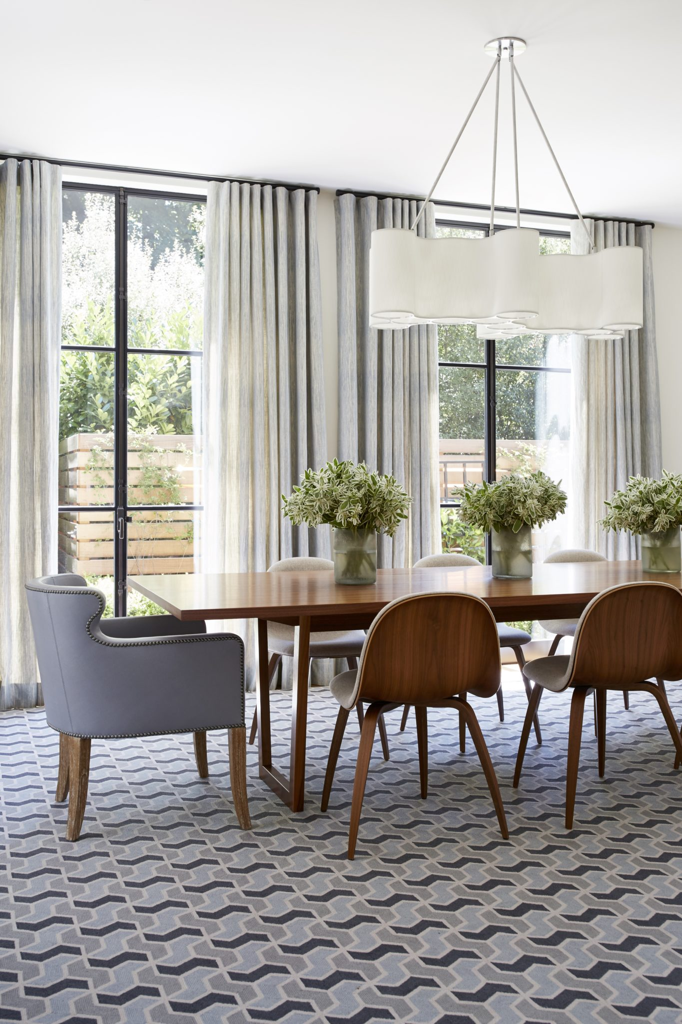 Marin County family home - dining room with a custom Tai Ping rug by Kelly Hohla Interiors