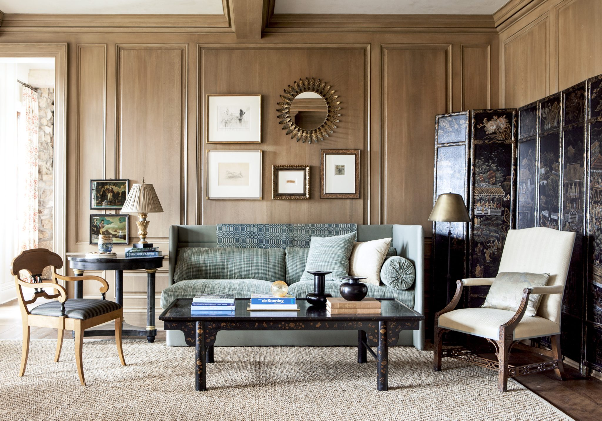 Relaxed paneled living room by Suzanne Kasler Interiors