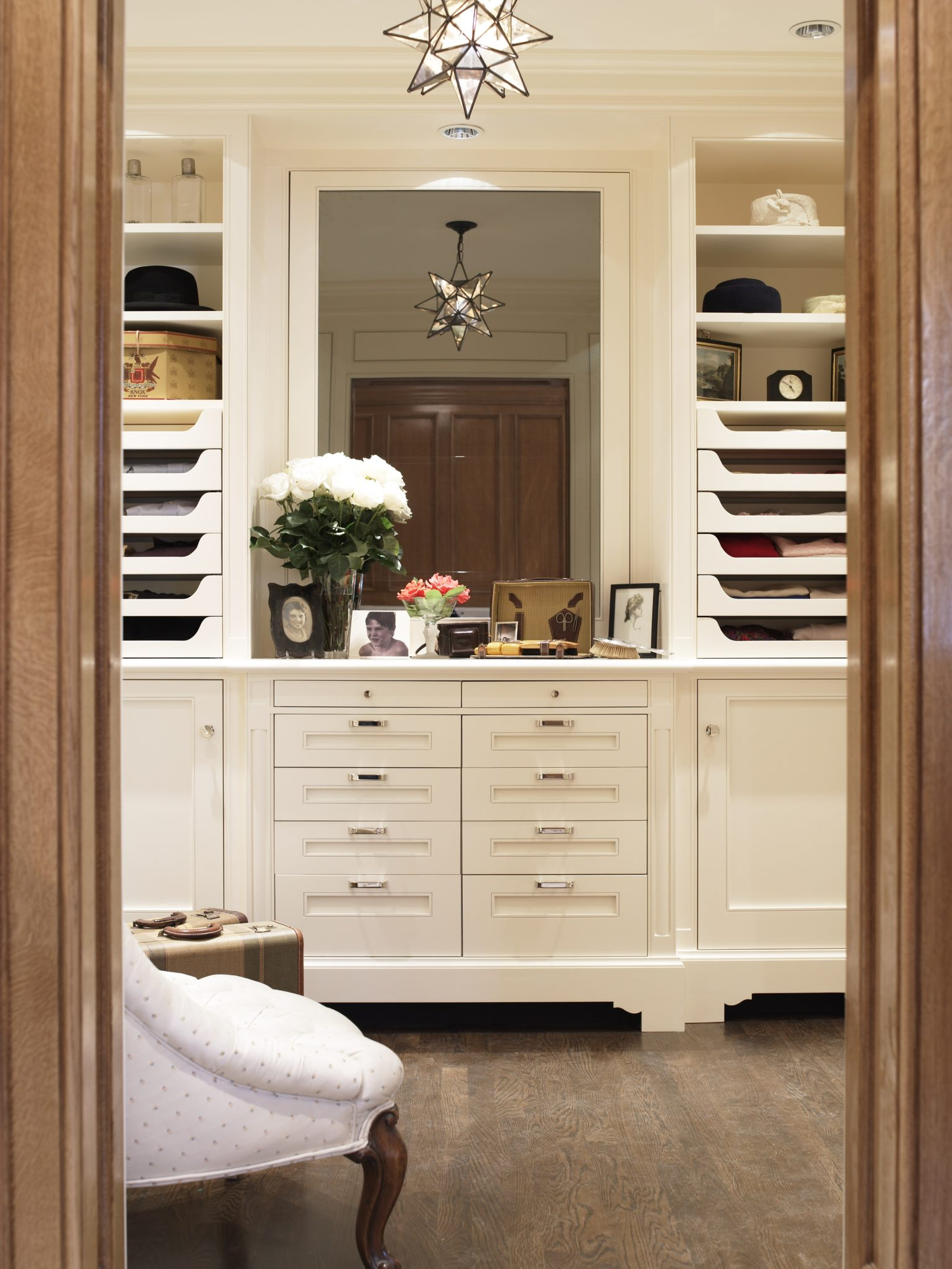 Attention to detail is key when designing a personal closet space. by Sarah Blank Design Studio