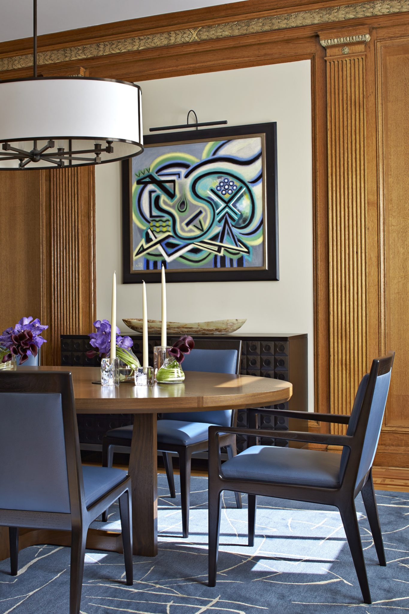 Classic Paneled Dining Room with Contemporary Furnishings by Haver & Skolnick Architects