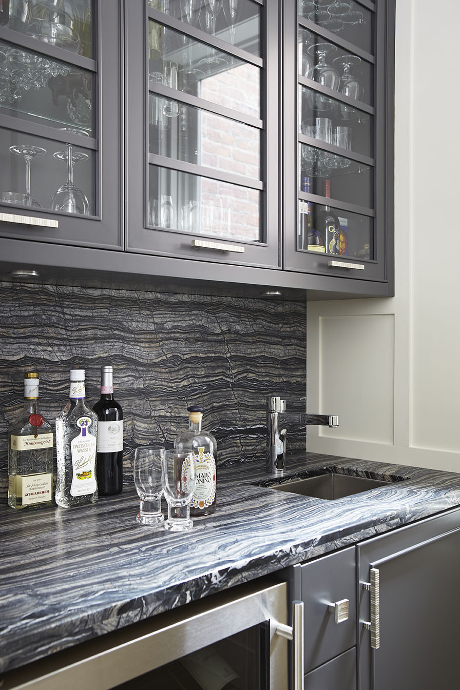 #10: Contemporary bar and butler's pantry featuring charcoal cabinetry and dramatic countertop designed by Douglas Design Studio. See more of the firm's work here>