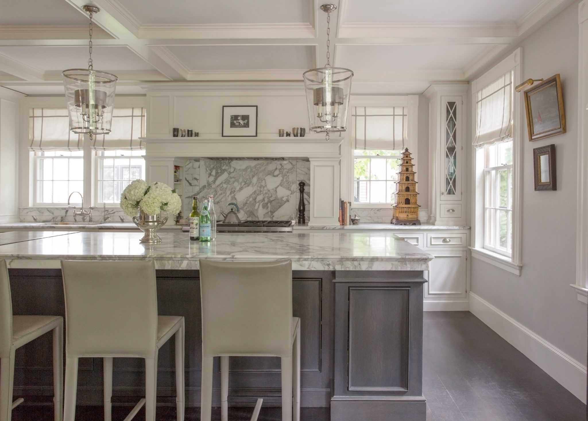 Traditional Harvard Square kitchen with coffered ceiling by Kristin Paton Interiors