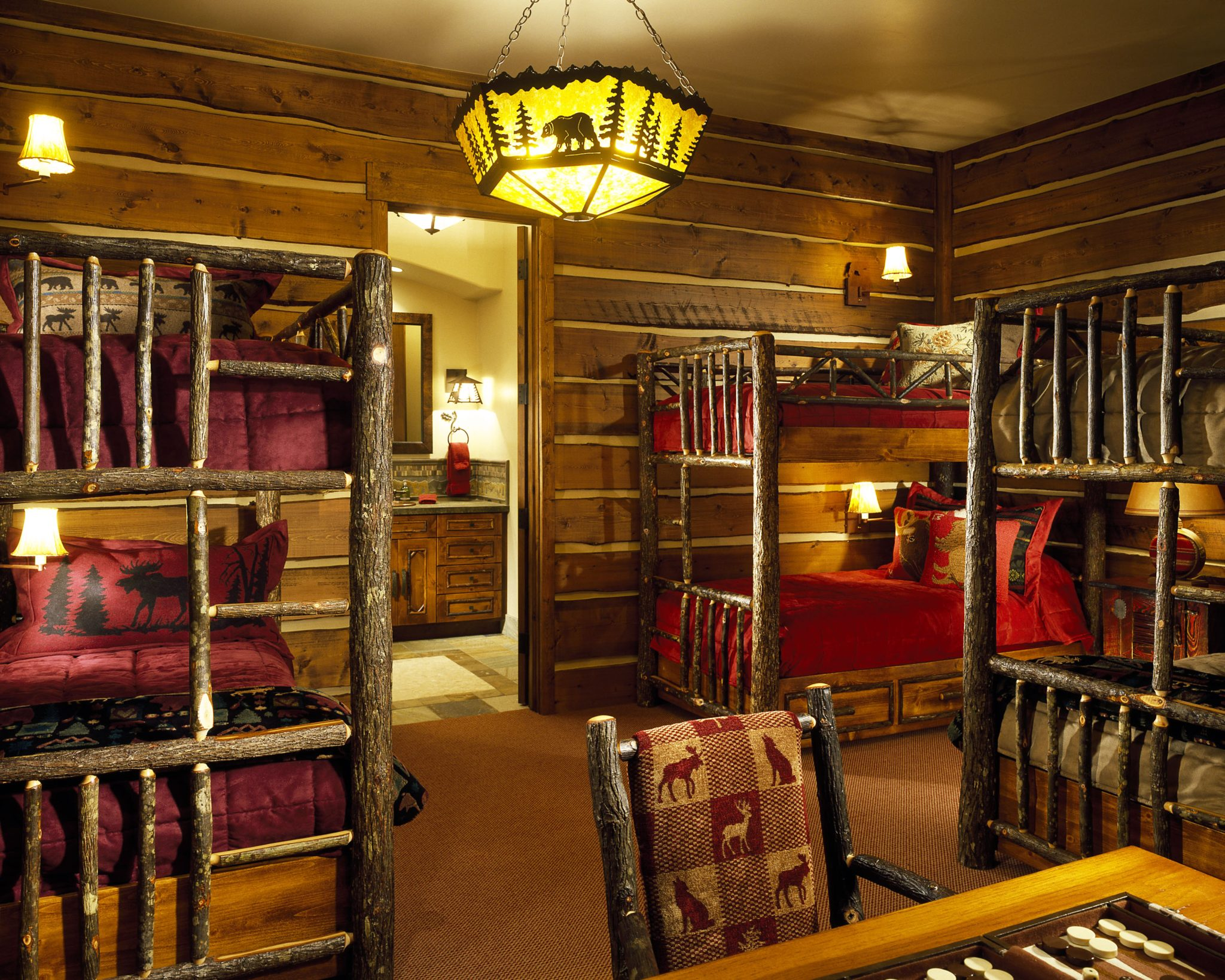Playful bunkroom in a ski-in private residence, Aspen, Colorado by Brewster McLeod Architects