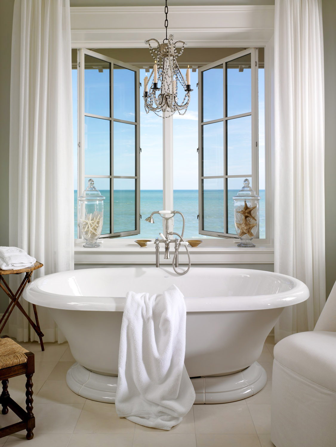 Freestading Tub with an Ocean View by Jill Shevlin Design