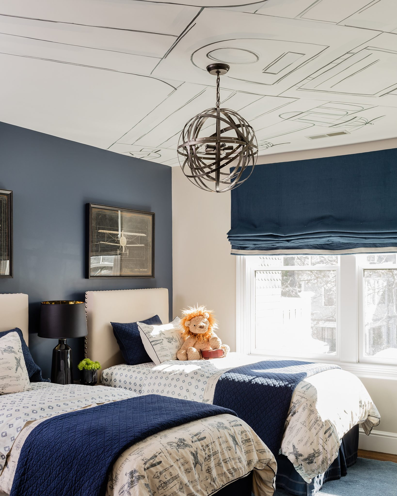 Newton Kids Bedroom with Twin Beds by Nicole Hogarty Designs