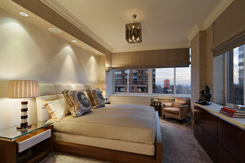 New York City penthouse - master bedroom by Jeffrey Parker Interiors, Inc.
