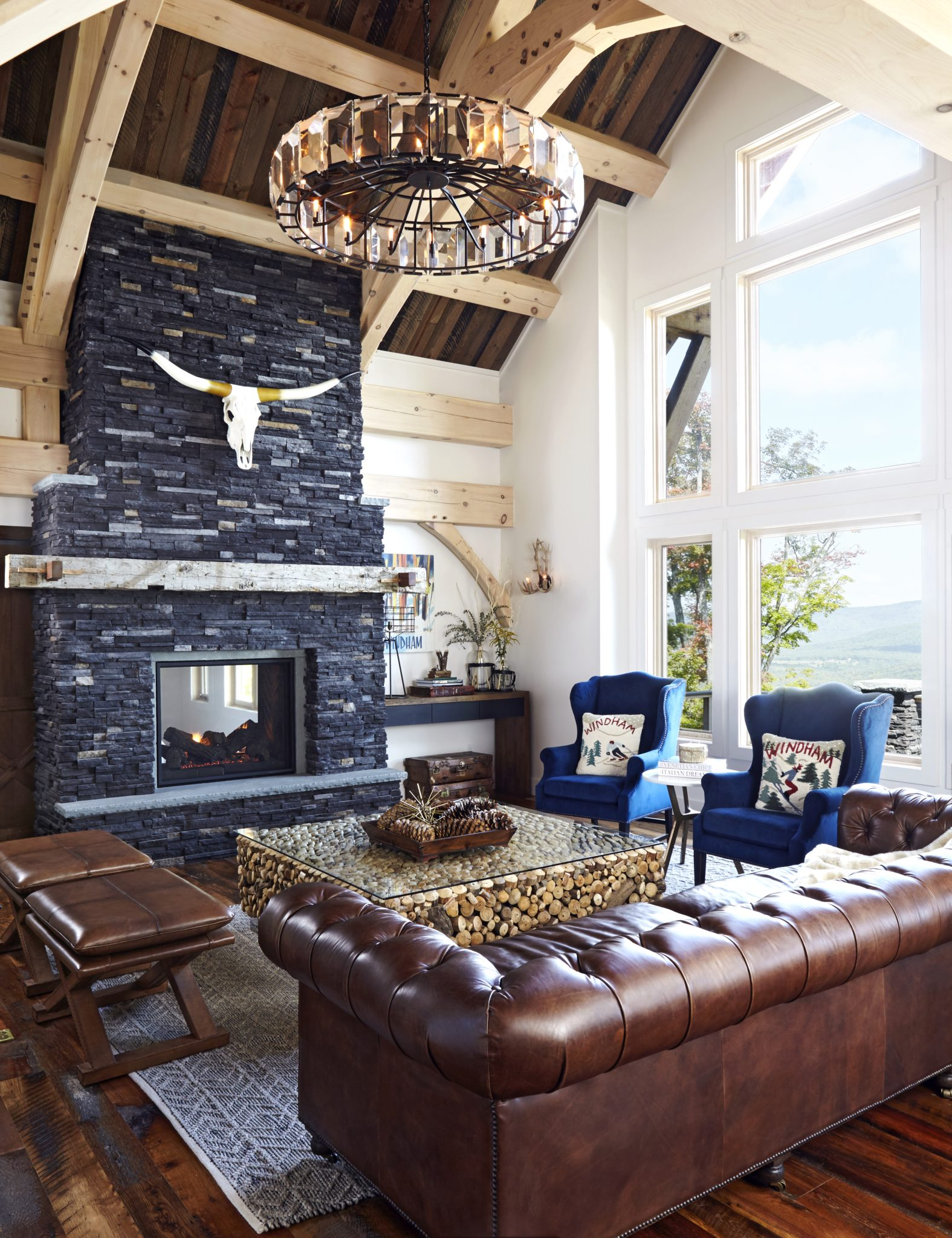 Great Room feat. Fireplace | Windham, NY by Kathy Kuo Designs