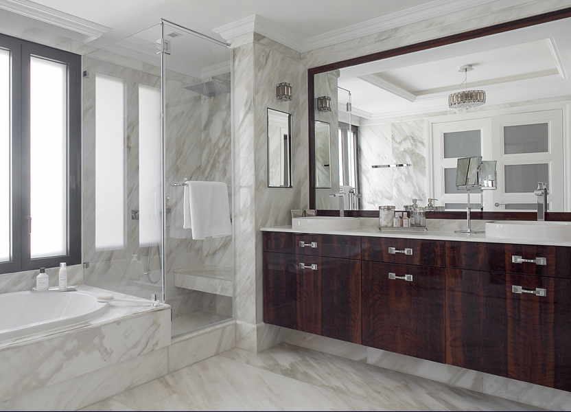 Calaccata marble bathroom by Annette Frommer Interior Design