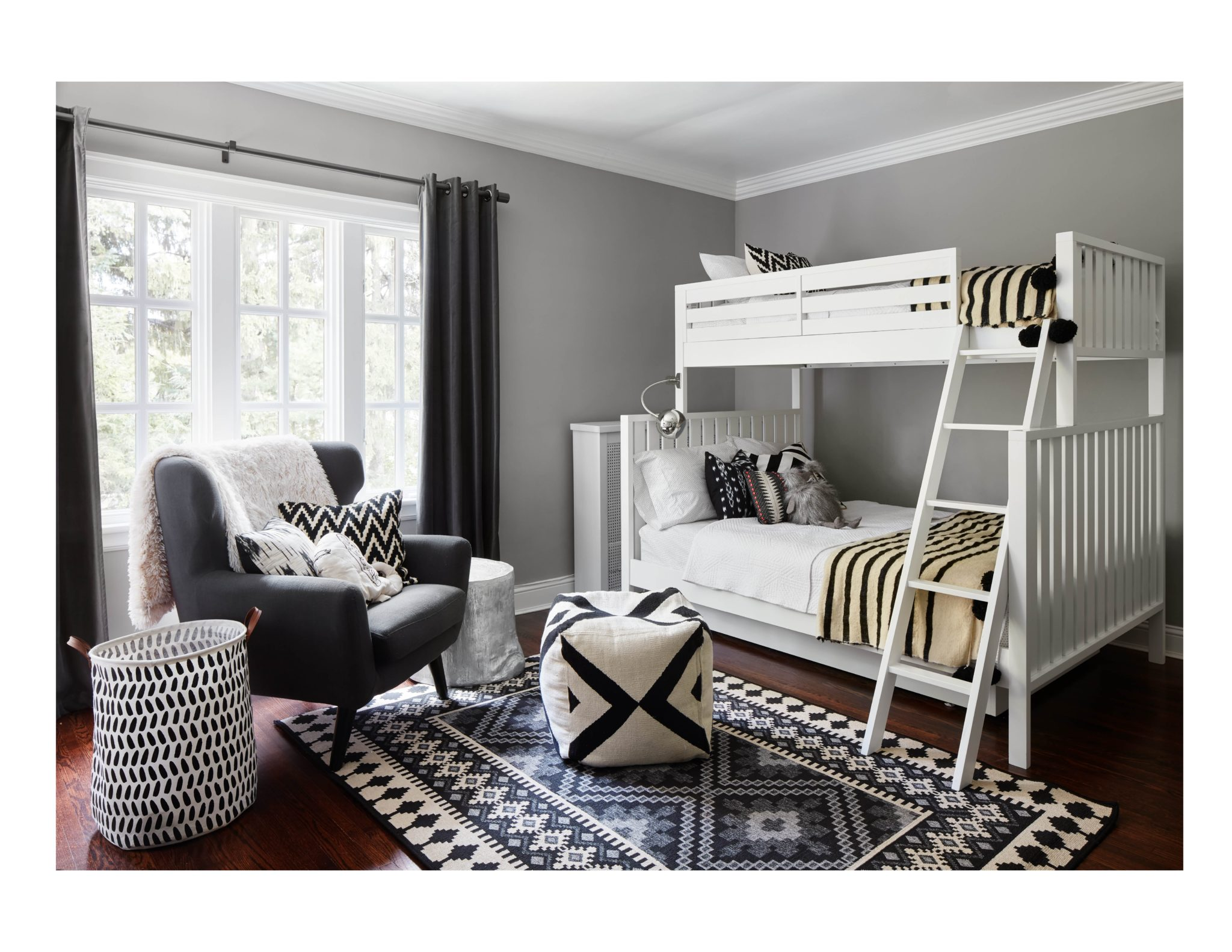 Wilmette Black and White Kids Bedroom by Jen Talbot Design