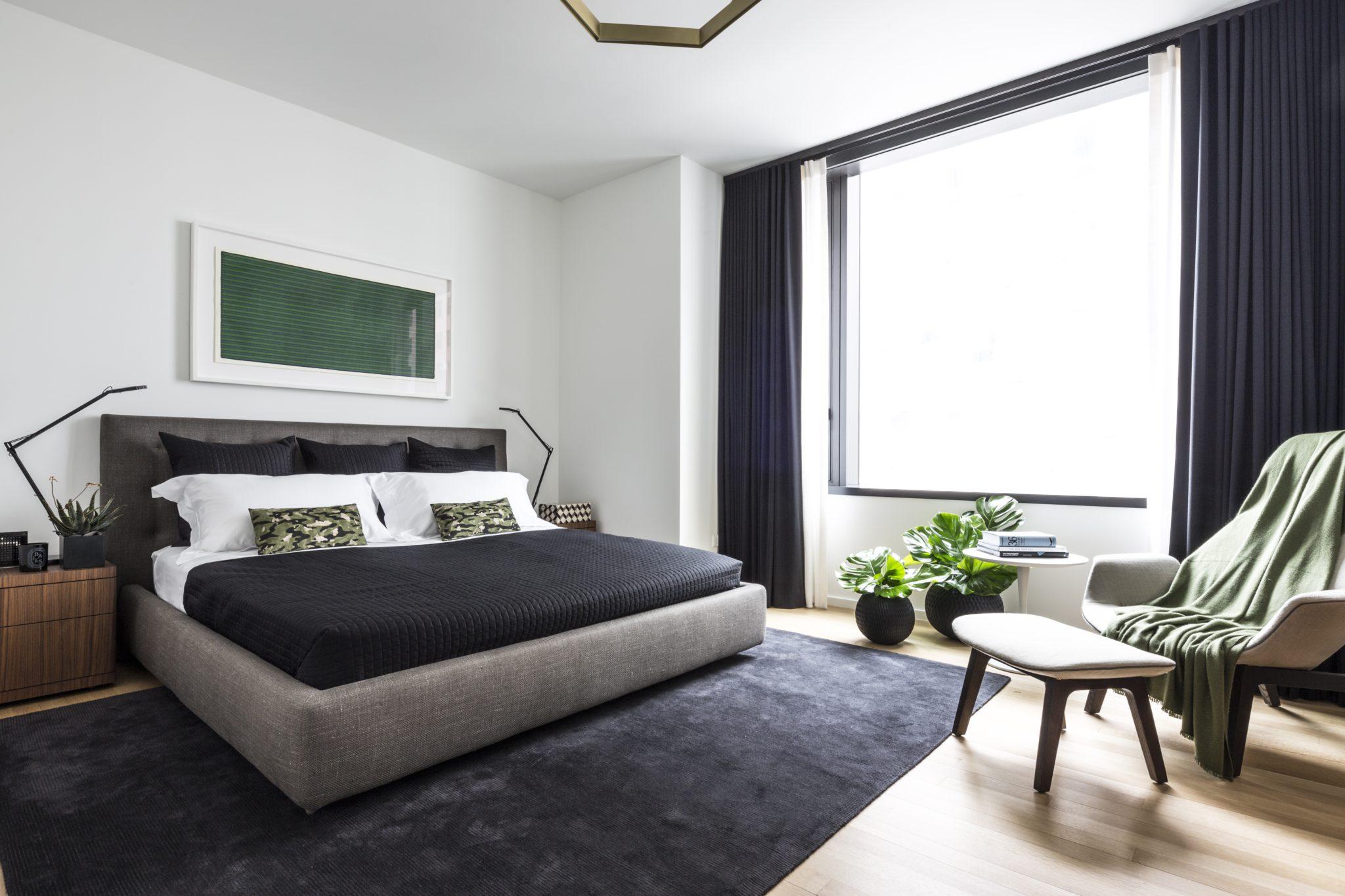 Bedroom in 50 United Nations Plaza model apartment by Bennett Leifer Interiors