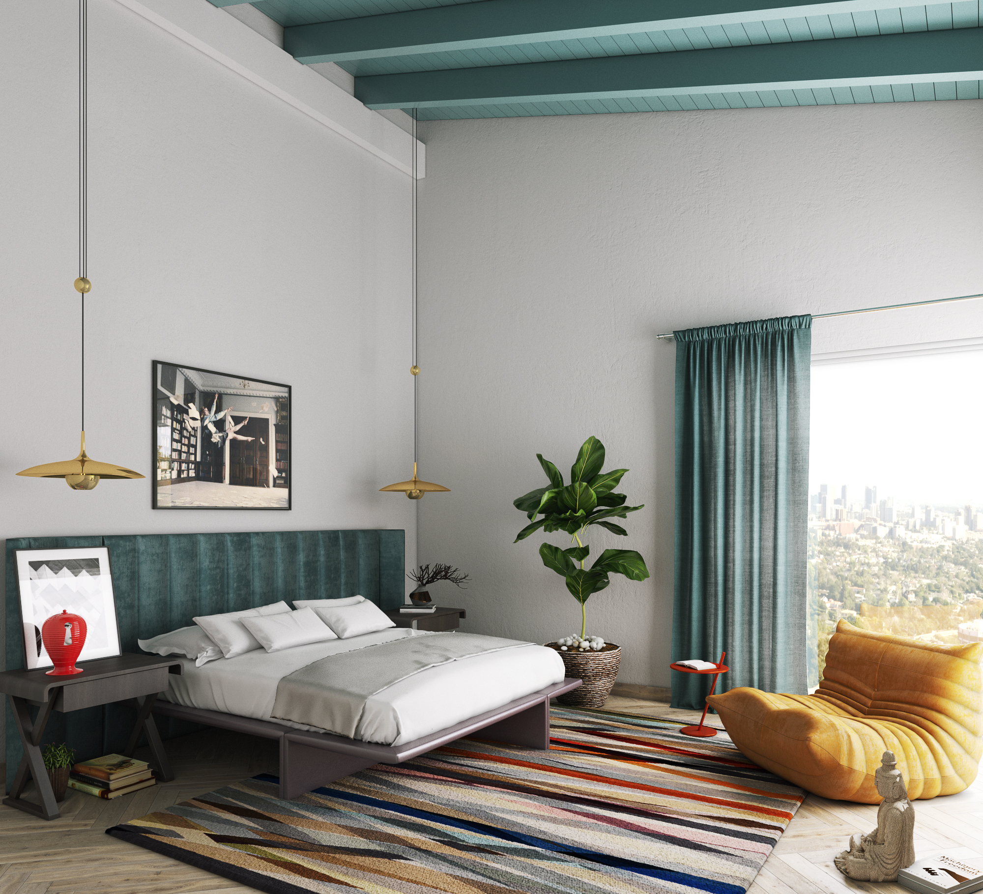 High ceilings, high drama and measured pops of bold color by mr. alex TATE