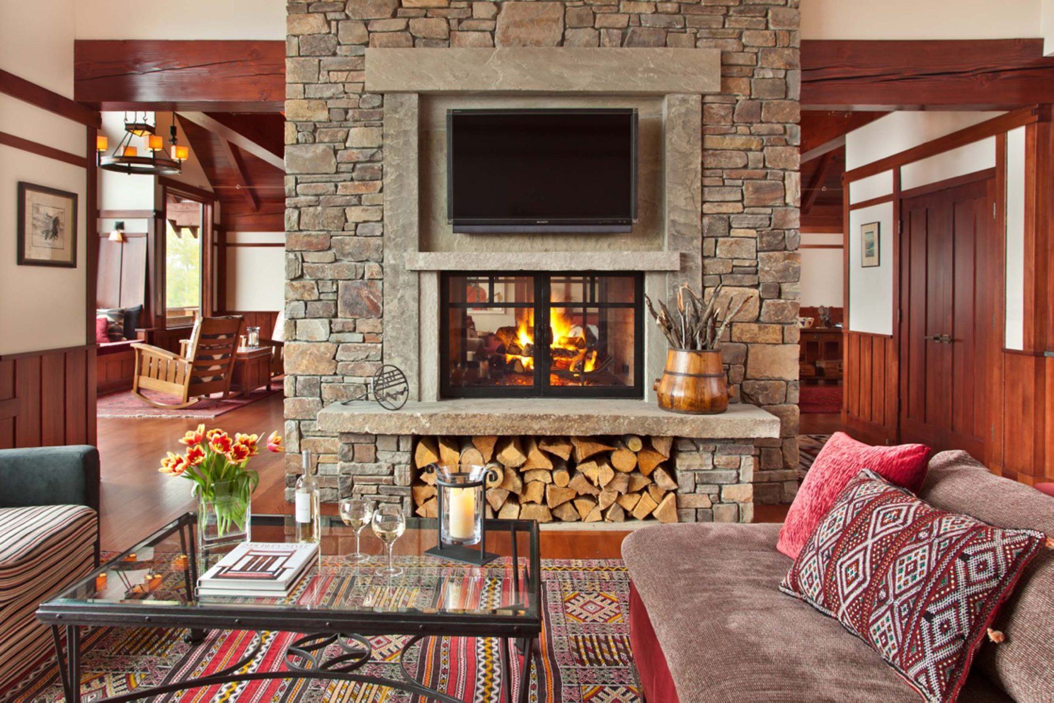 Jackson Hole Residence Family Room Fireplace by Huth Architects