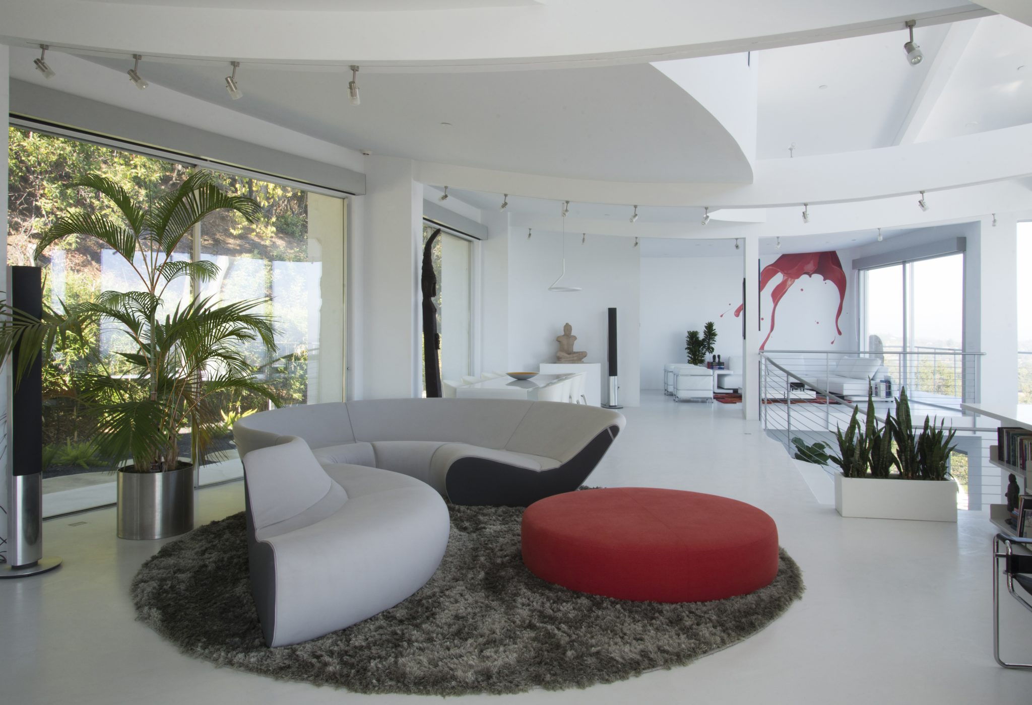 Los Altos Hills, Curved House, Family Room with double height ceiling by Isolina Mallon Interiors