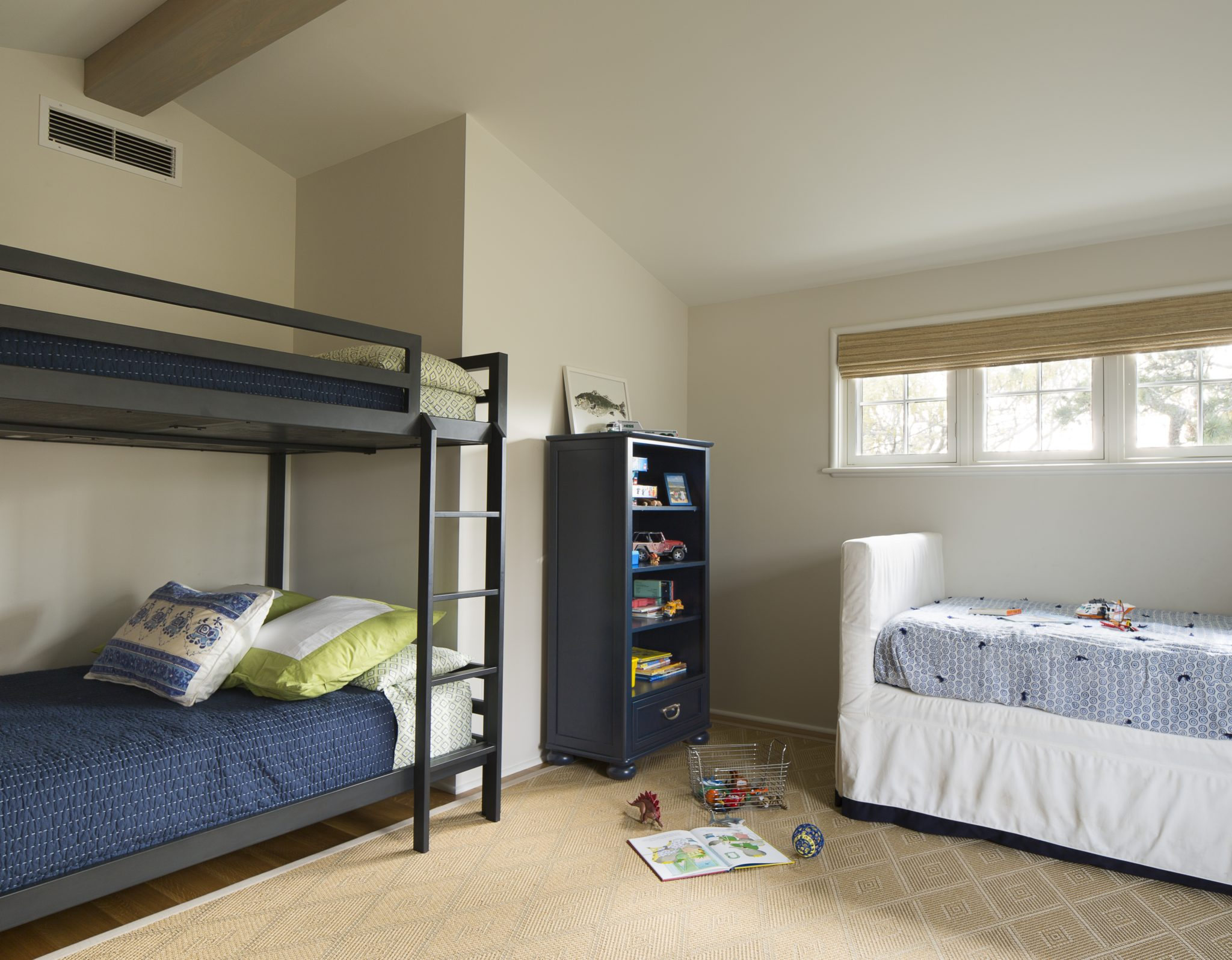 Beach Home, Martha's Vineyard (boys bedroom with custom designed textiles) by Vani Sayeed Studios