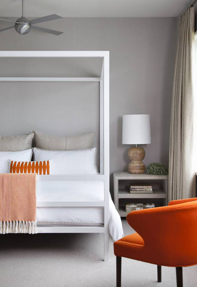 Neutral guest bedroom witha pop of color inAustin, Texas,by Greer Interior Design