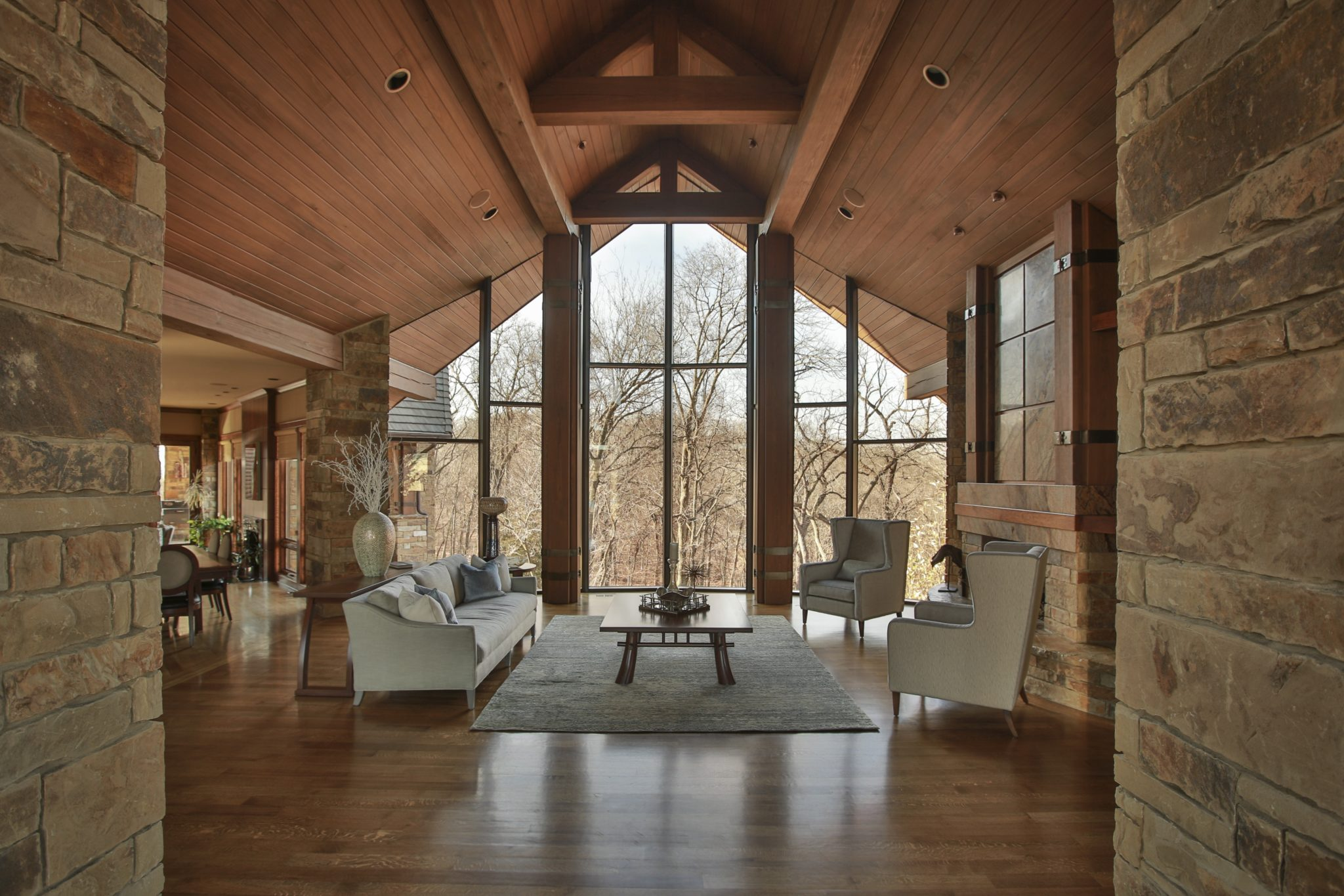 Rustic Wooded Lodge by the Lake with Wood Ceiling by Karen Mills