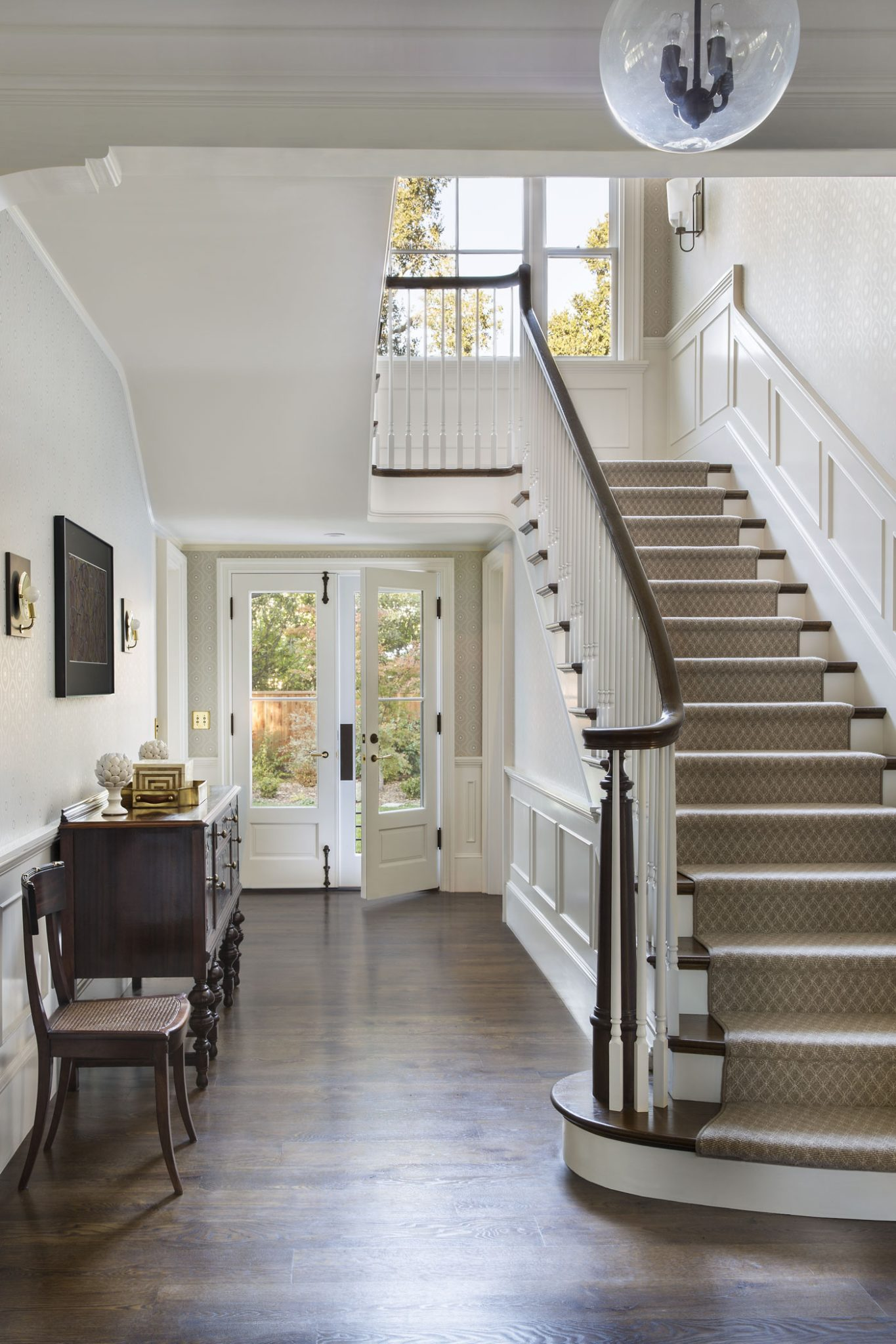 New Tennessee-Style Farmhouse Front Staircase by Tim Barber Ltd.
