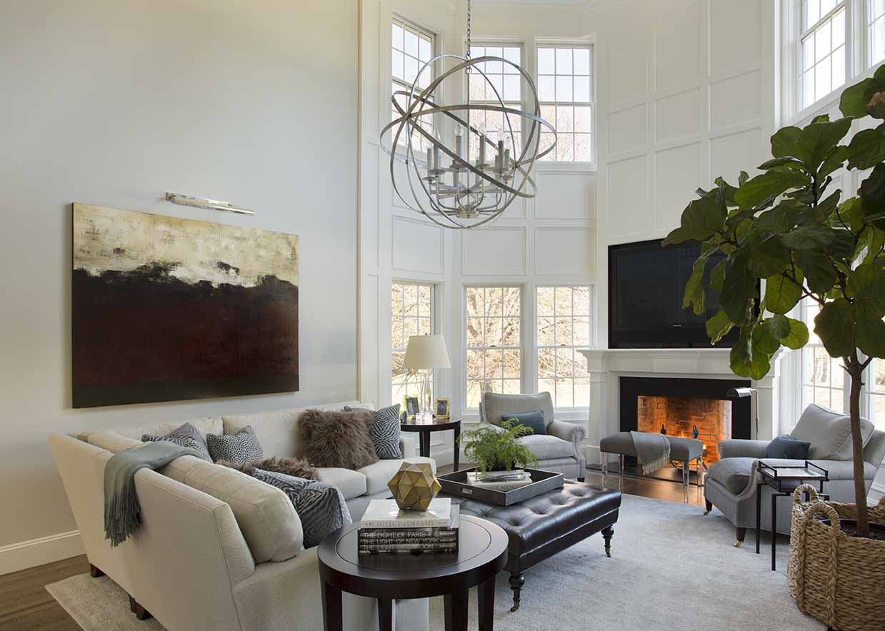 Grand Double-Height Living Room by Liz Caan & Co.