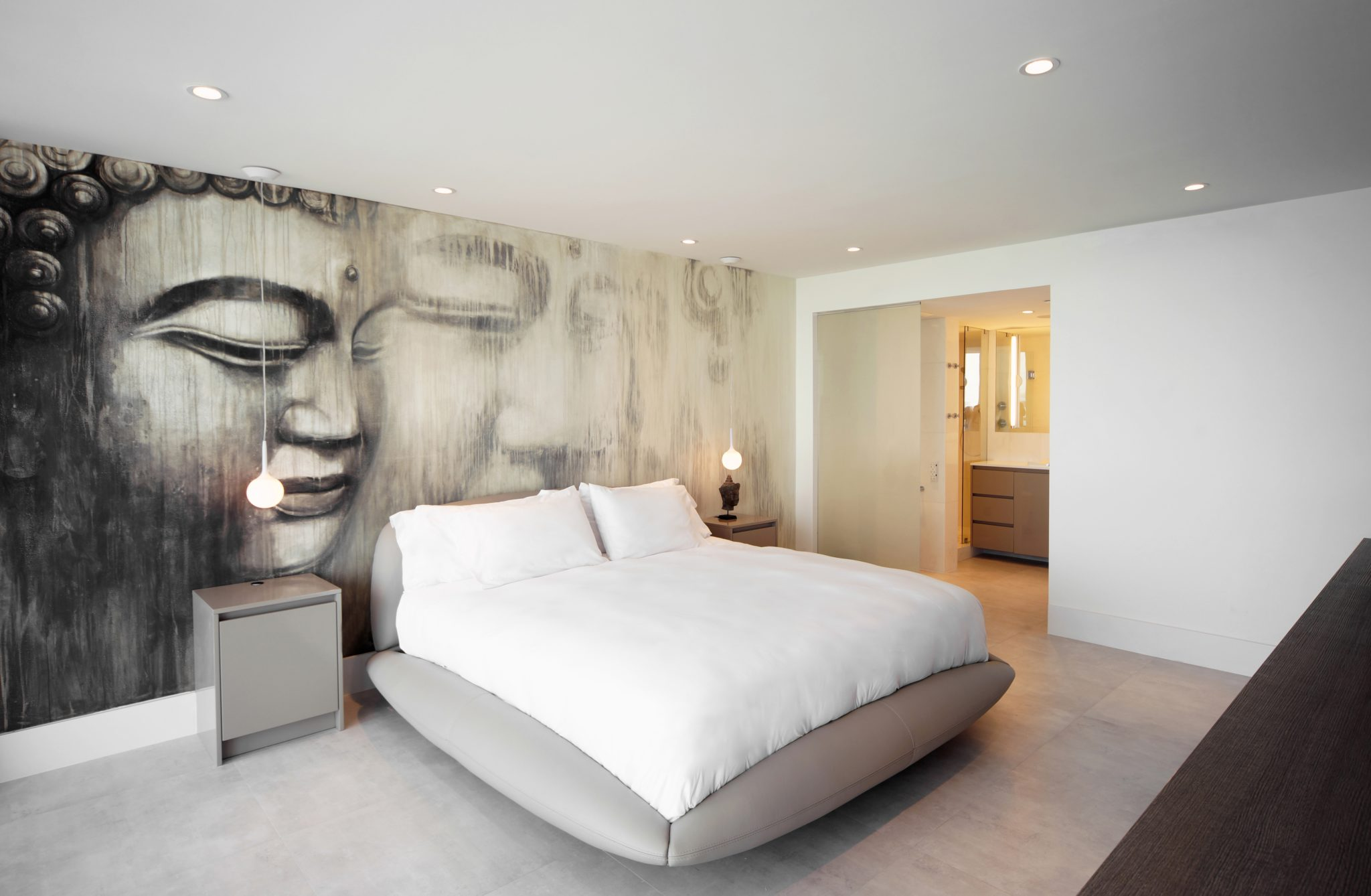 Master bedroom with graphic wall and bathroom by DiMare Design