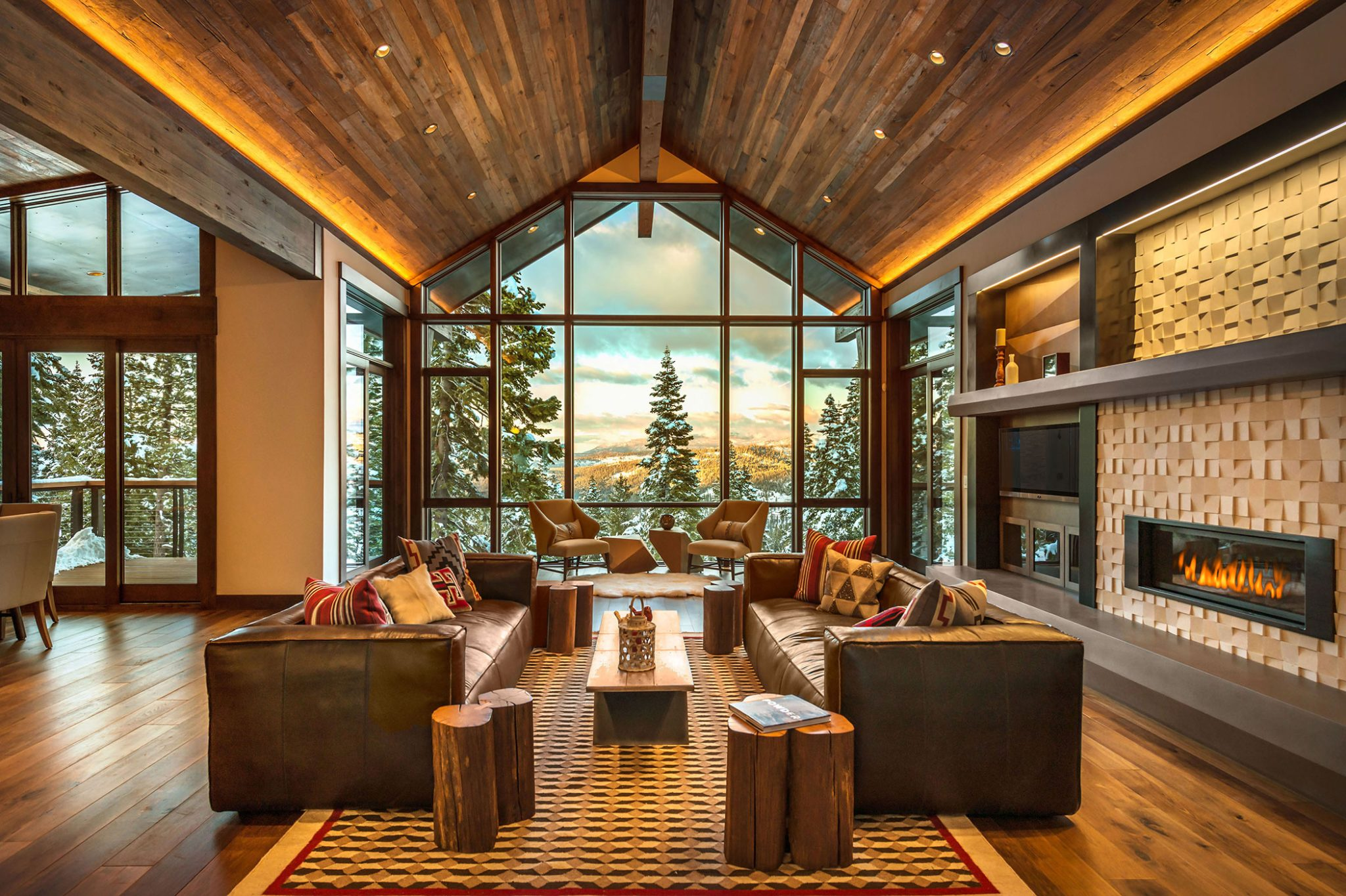 Rustic Contemporary Ski Lodge, Martis Camp, Lake Tahoe, fireplace surround by Aspen Leaf Interiors, Inc.