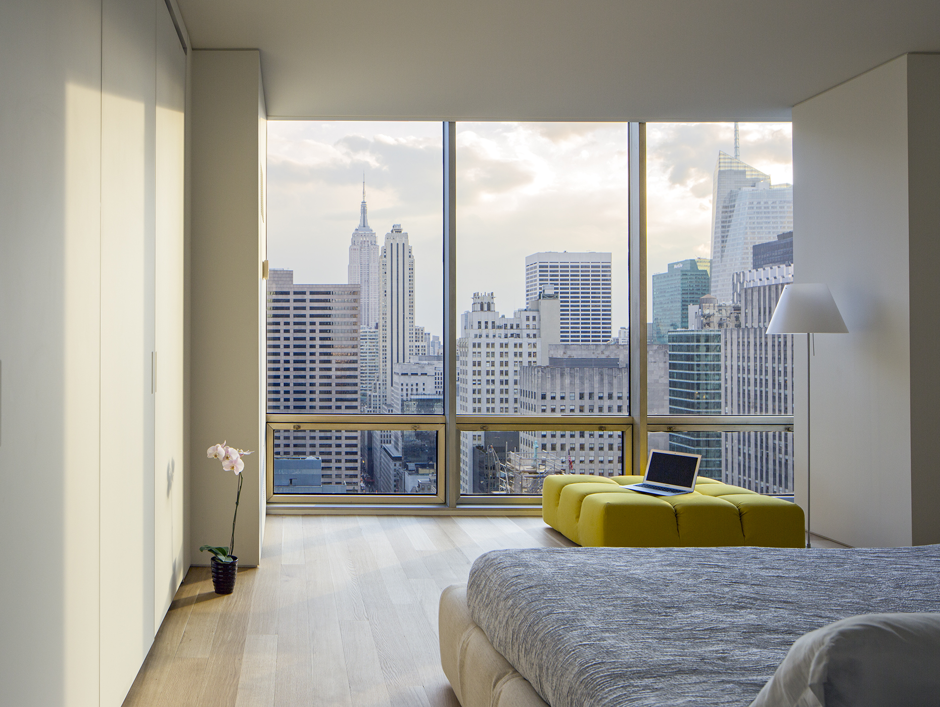 A bedroom in New York City'sUpper East Side bedroom by James Wagman Architect